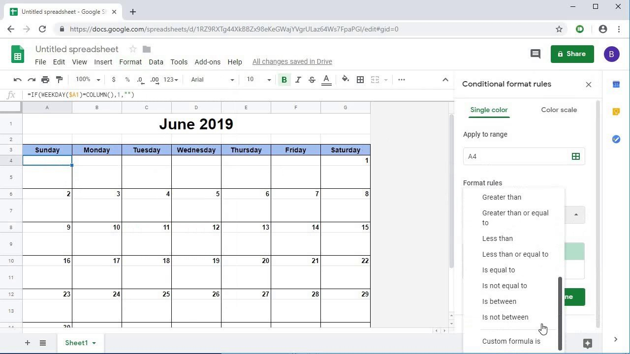 Creating A Dynamic Monthly Calendar In Google Sheets Google Spread Sheet Template Clender