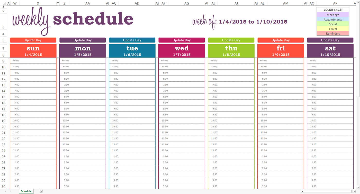 Daily Planner With Time Slots Template | Weekly Calendar Calendar With Hourly Time Slots
