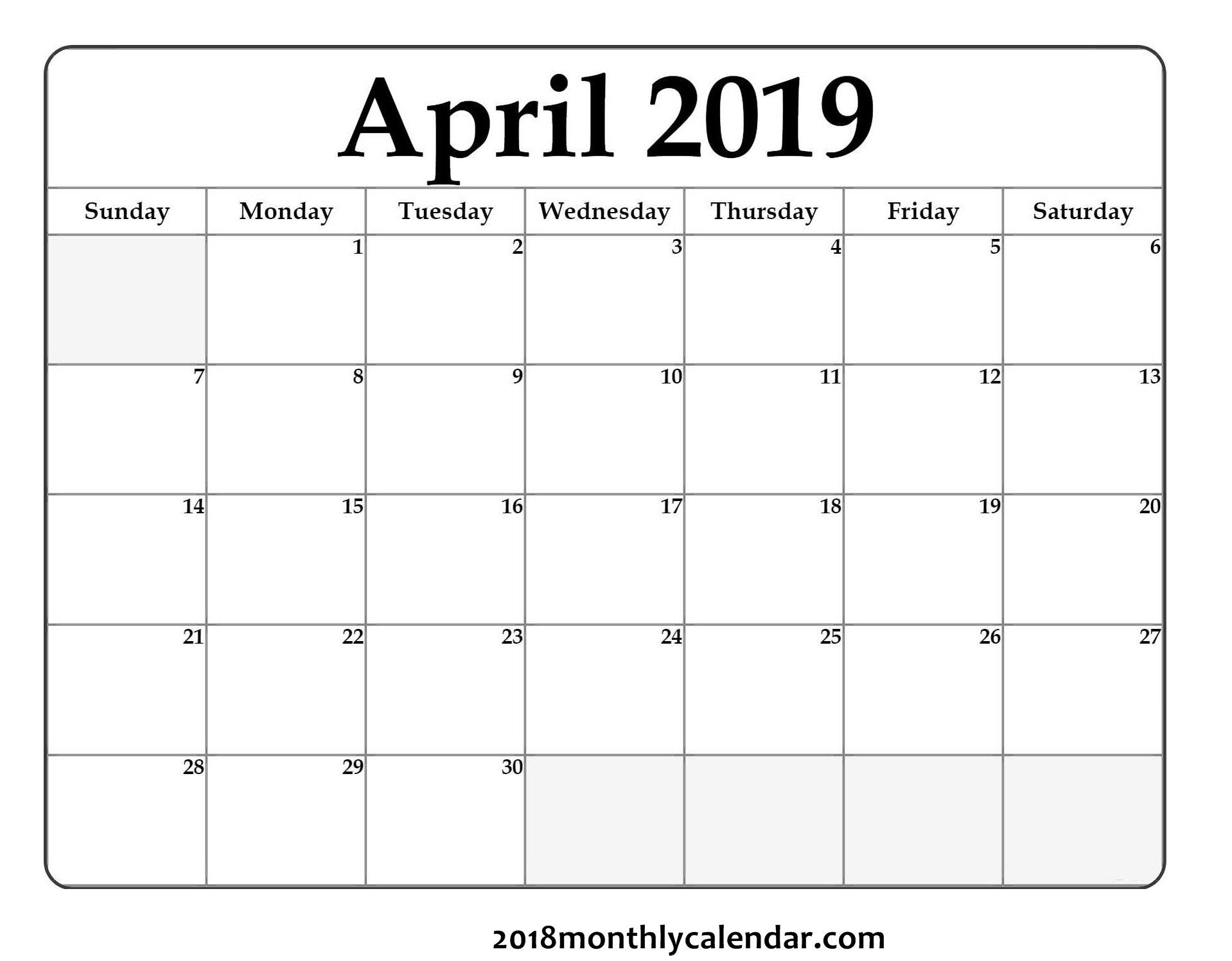 Download April 2019 – Printable Blank & Editable Calendar That I Can Edit