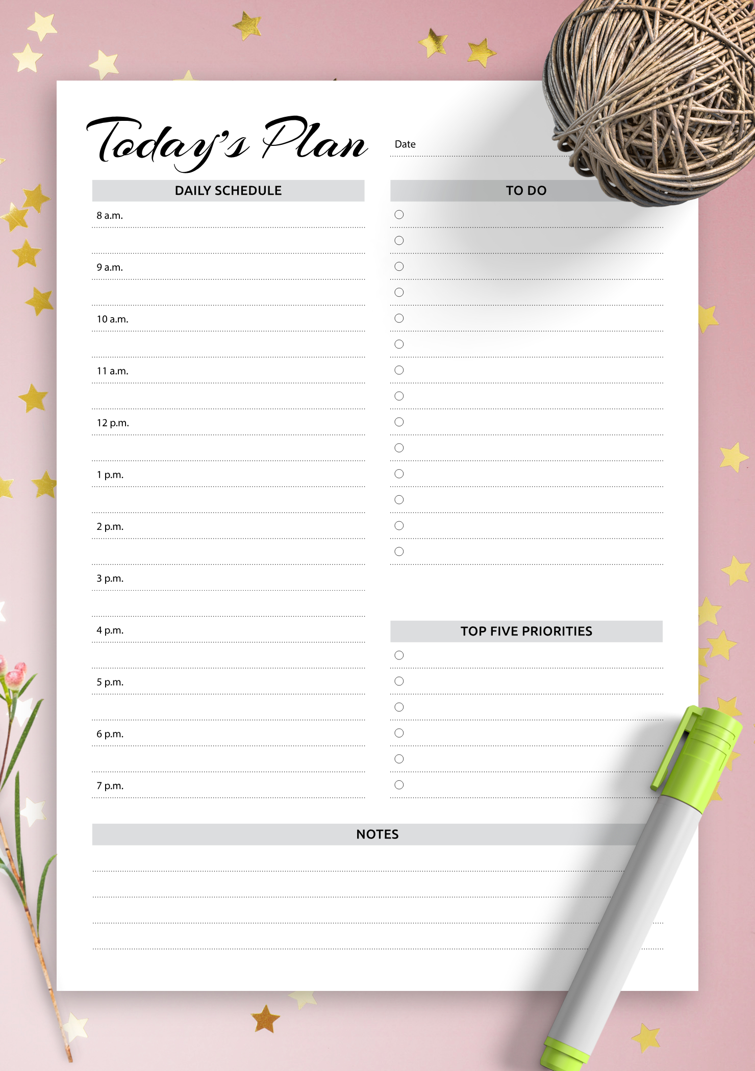 Download Printable Daily Planner With Hourly Schedule & To Daily Hourly Schedule Template Free