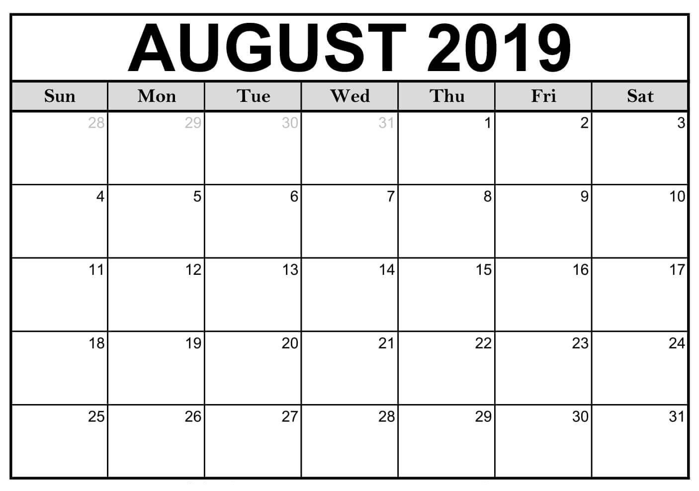 Editable August 2019 Calendar | Monthly Calendar Printable Feree Blank Butterfy Calendar Month To Fill In
