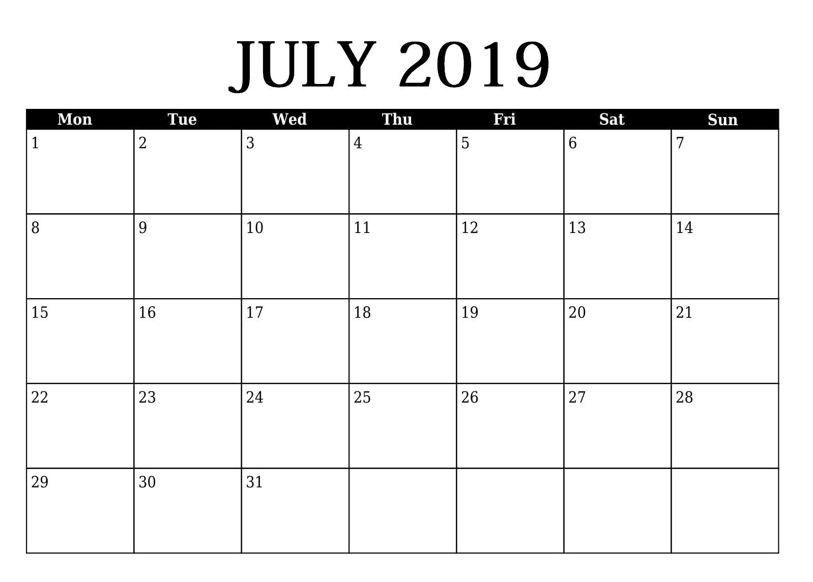 Editable July 2019 Calendar Template (With Images)   2019 Free Calendar To Edit