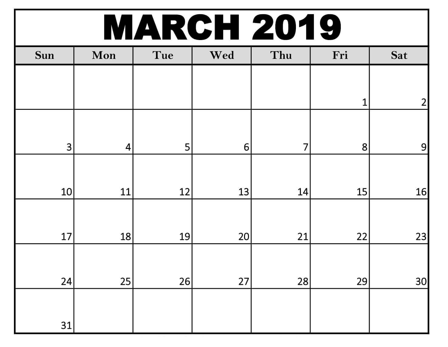 Editable March 2019 Calendar Free Download (With Images Free Calendar To Edit