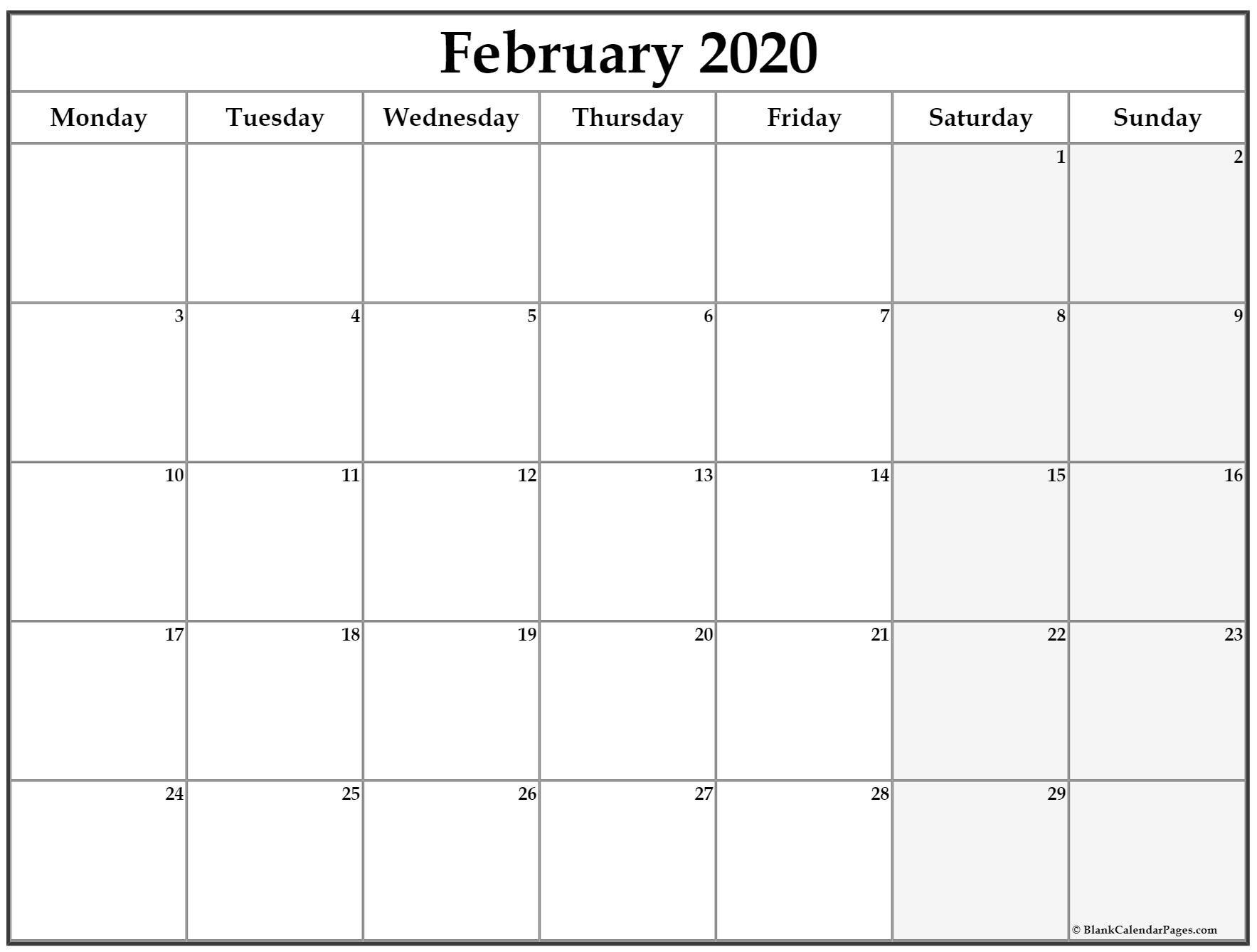 February 2020 Monday Calendar   Monday To Sunday Calendar Saturday To Friday