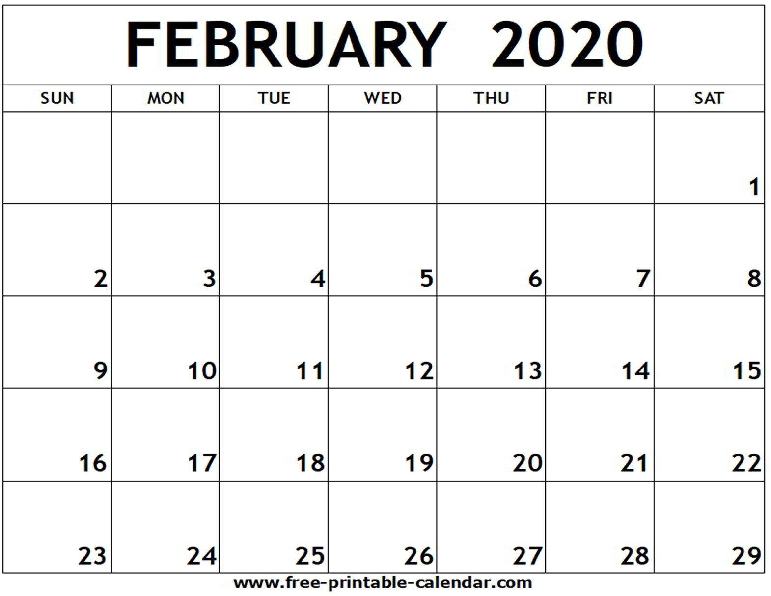 February 2020 Printable Calendar – Free Printable Calendar Blank Calendar I Can Edit And Print