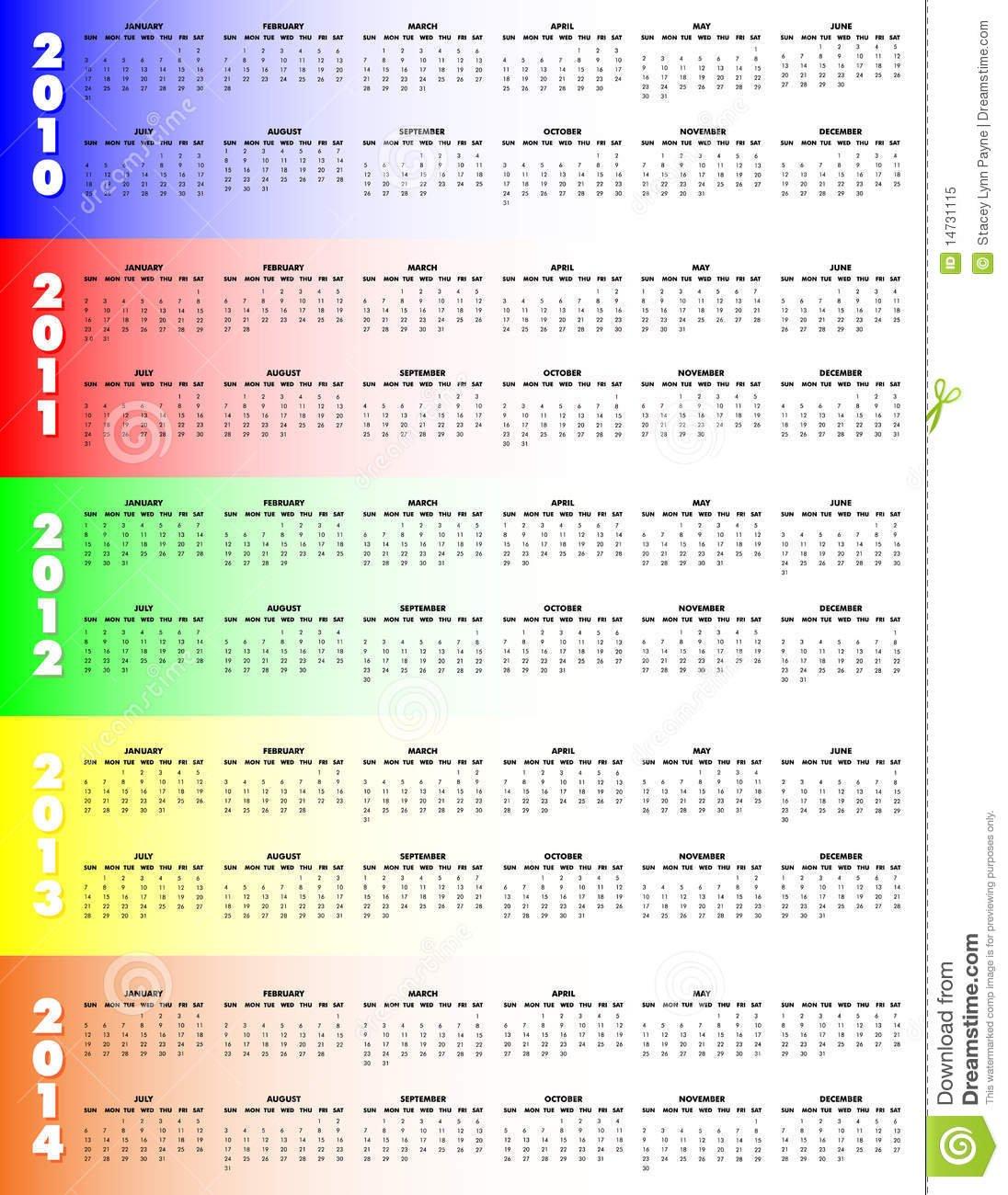 Five Year Calendar 2010 2014 – Stock Vector – Illustration Five Year Countdown Calendar