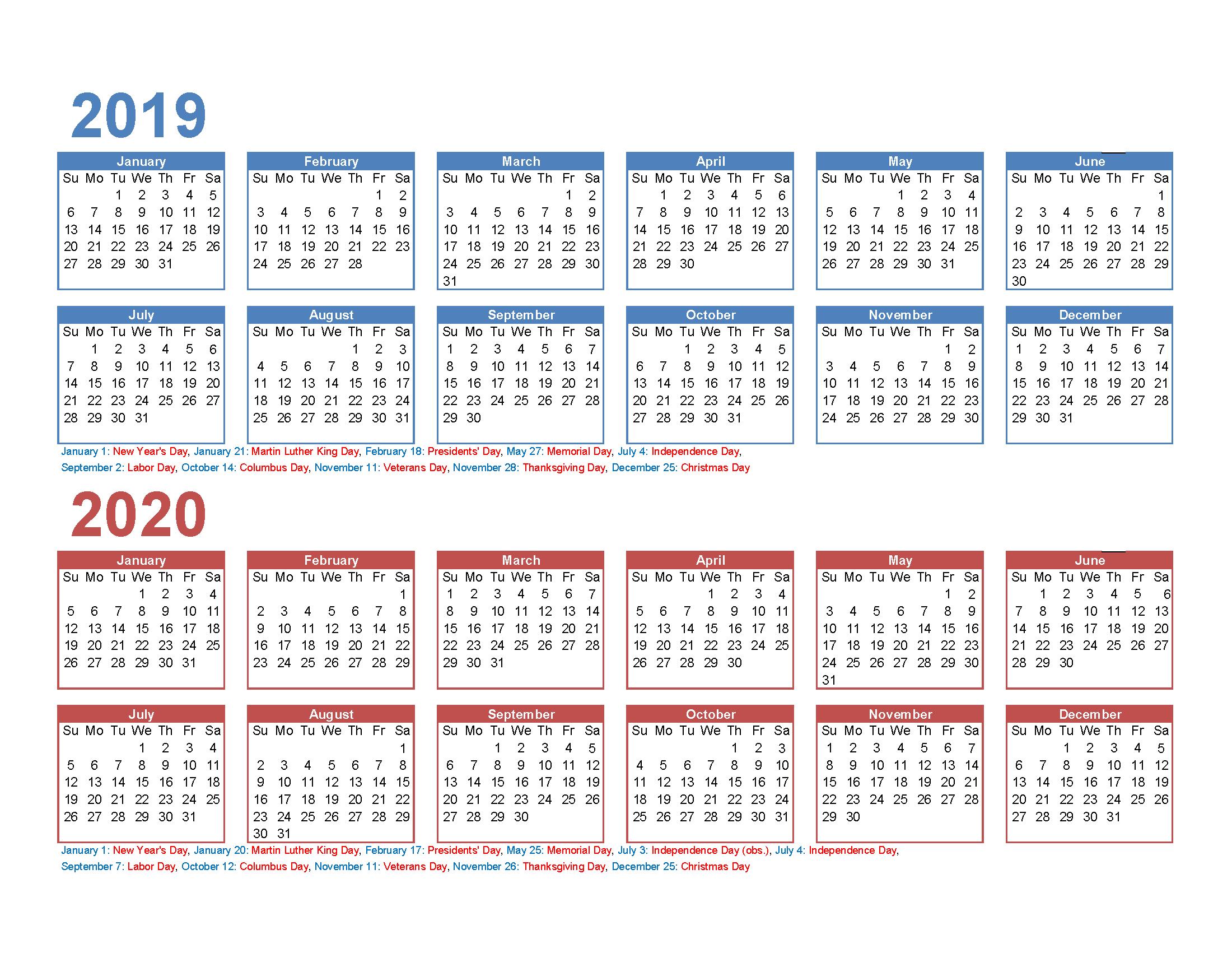Free 2019 And 2020 Calendar Printable 2 Year Calendar   Free 4 Year Printable Calendar