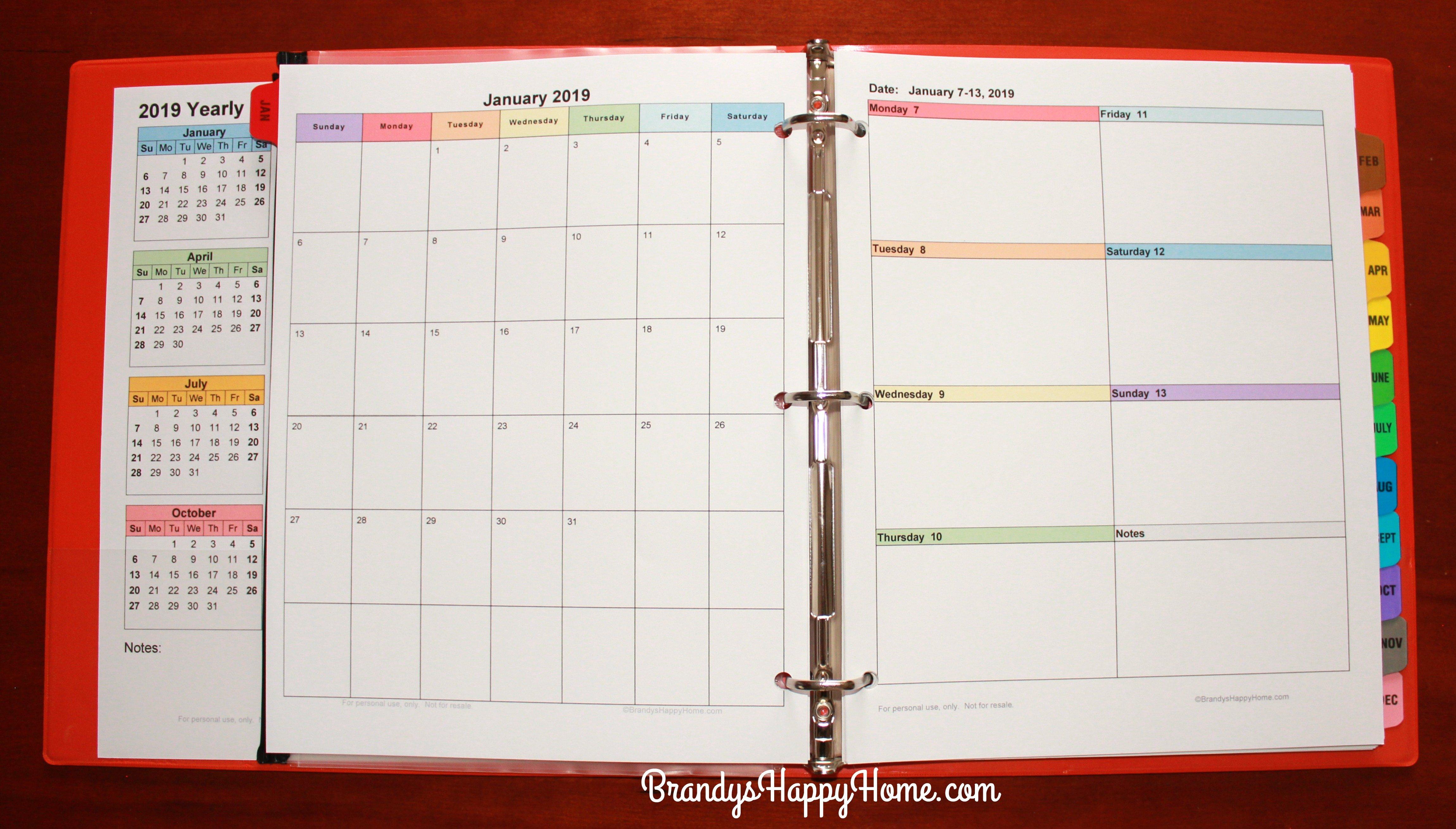 Free 2019 Diy Calendar Planner Printables Free Printable Color Coded Calendar