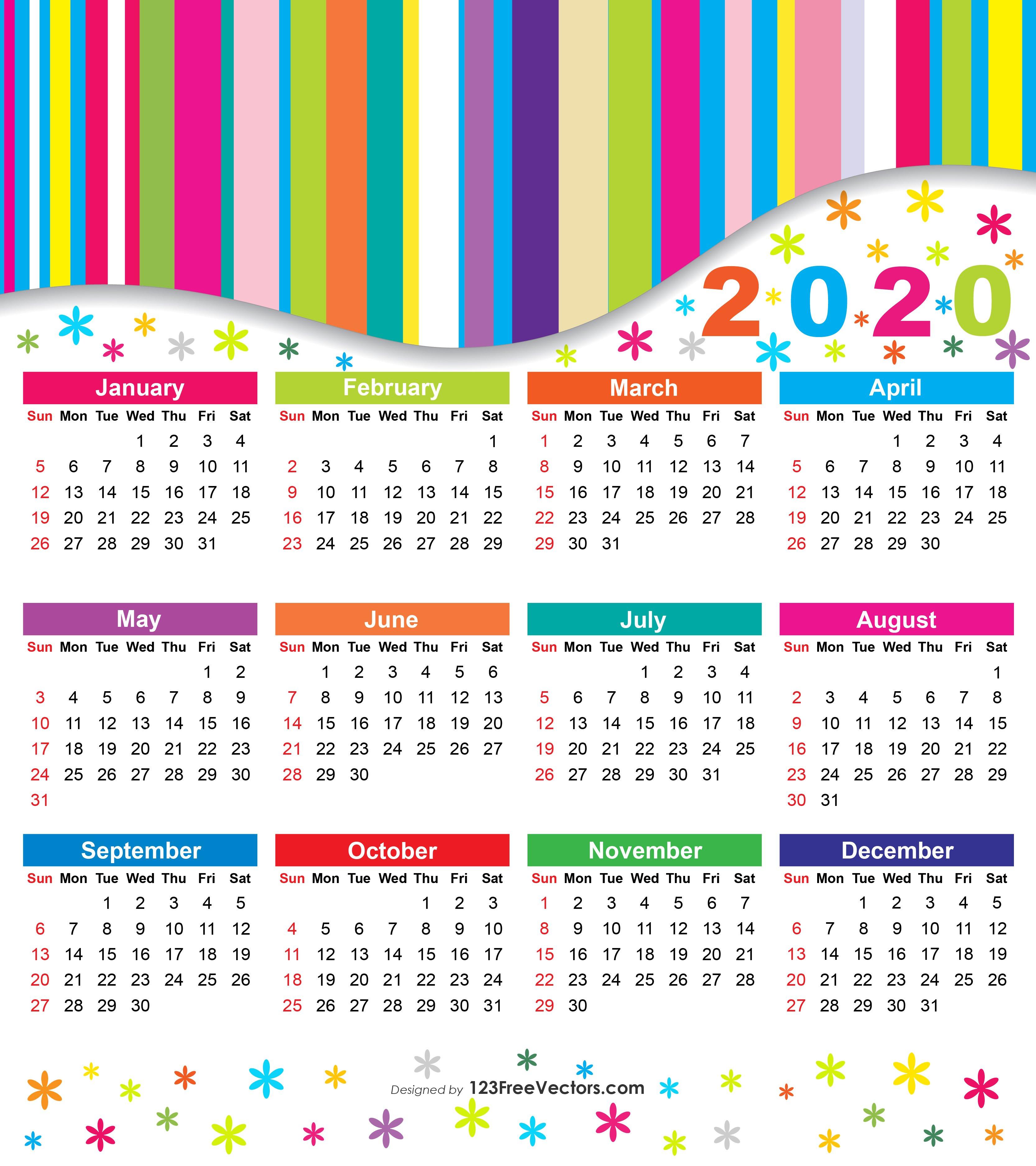 Free 2020 Colorful Calendar Free Print Color Coded Calendar