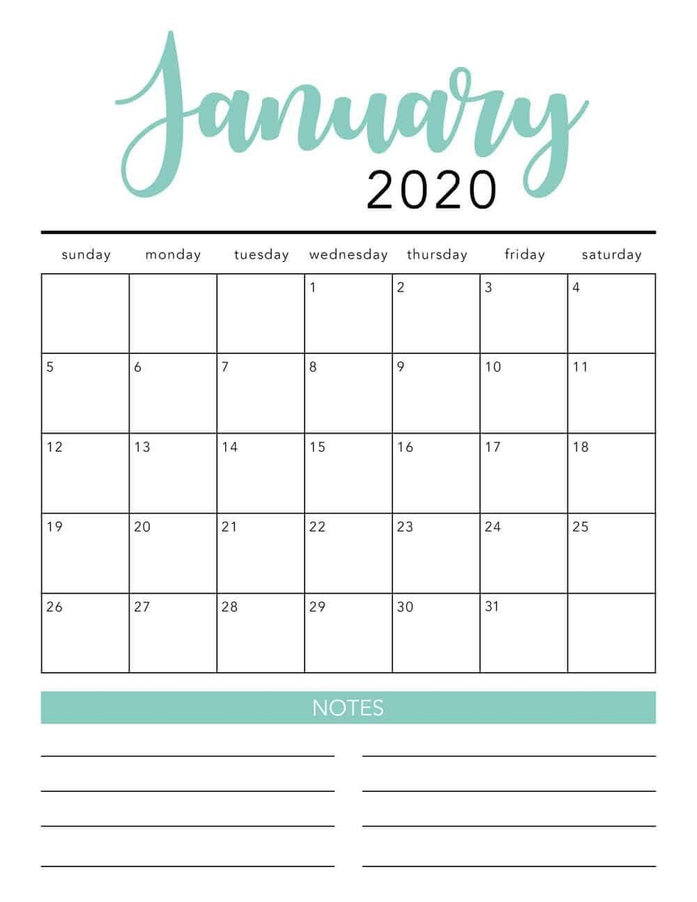 Free 2020 Monthly Calendar Printable (With Images) | Free Free Printable Calendar Fill In