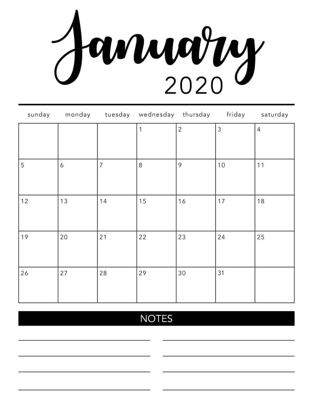 Free 2020 Printable Calendar Template (2 Colors!) – I Heart Free Printable Calendar Fill In