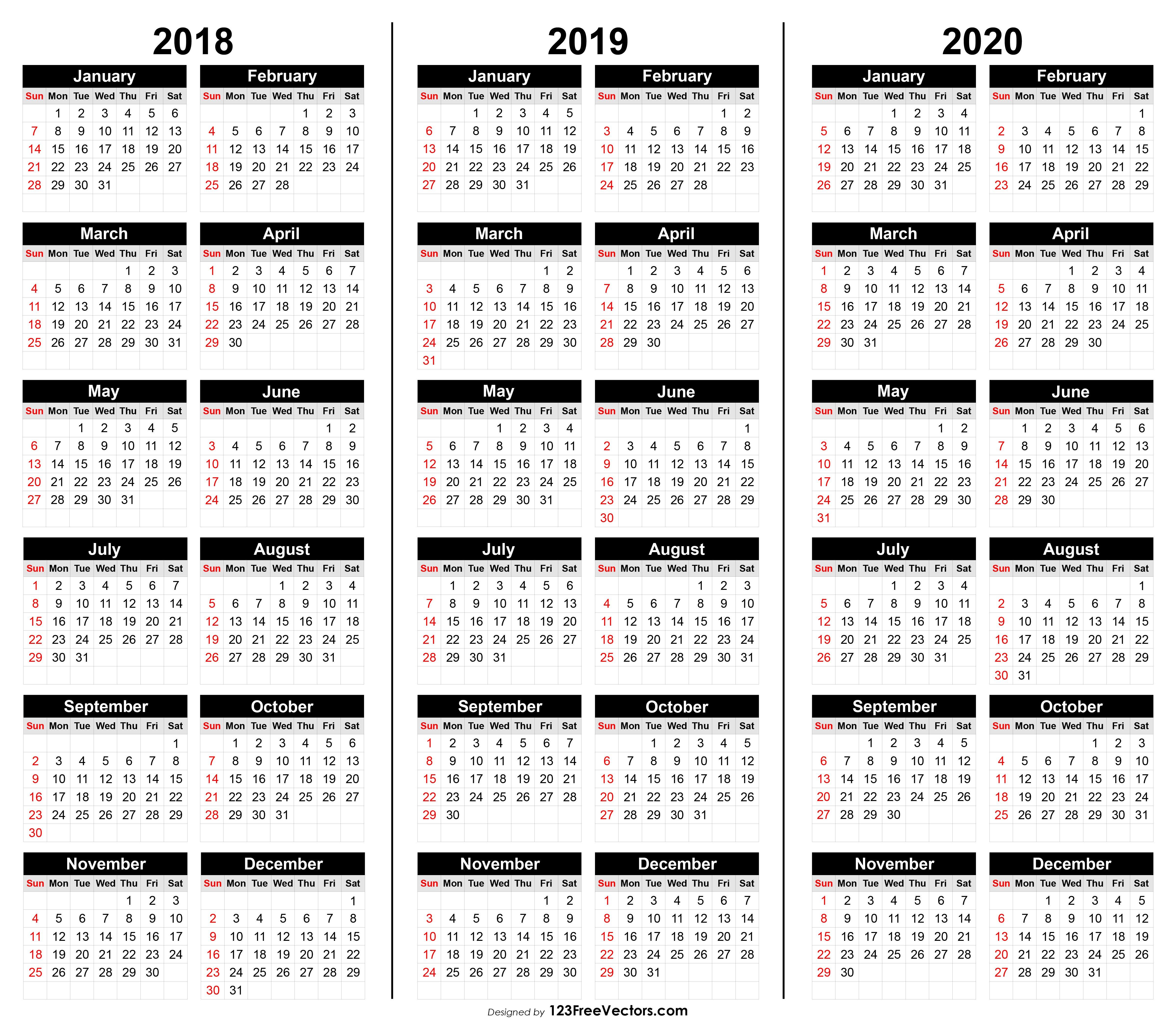 Free 3 Year Calendar 2018 2019 2020 Multi Year Printable Calendars Free