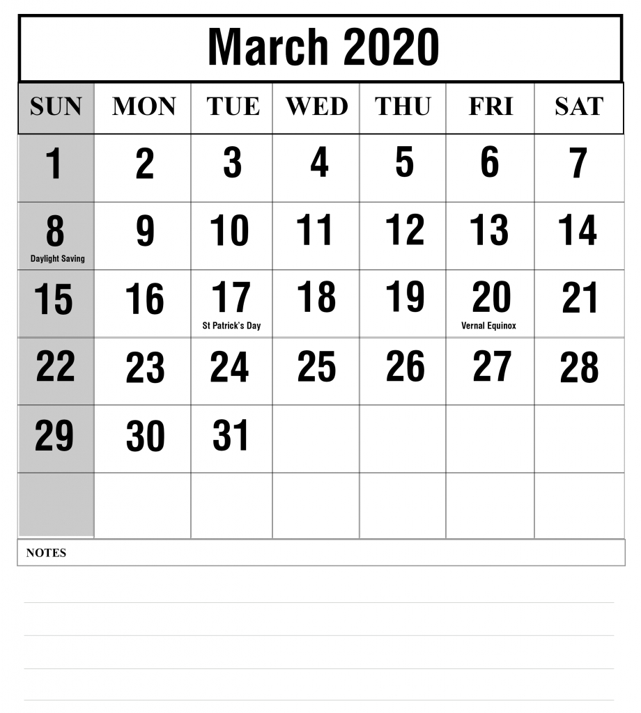 Free Blank March 2020 Fillable Calendar Template To Edit Free Calendar To Edit And Save