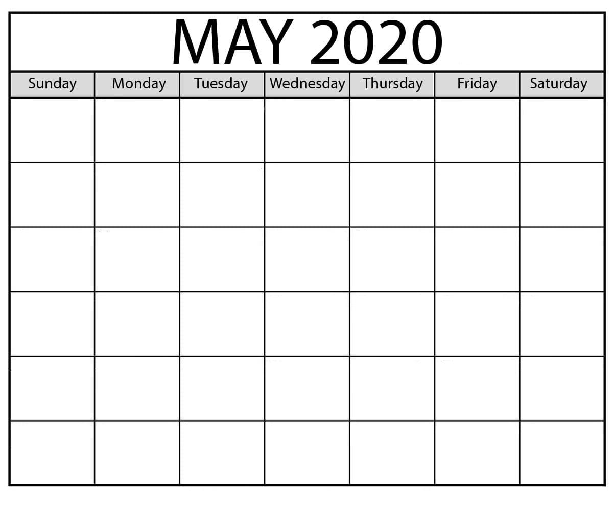 Free Blank May 2020 Calendar Template – Calendarsites – Medium Saturday Through Friday Calendar Template