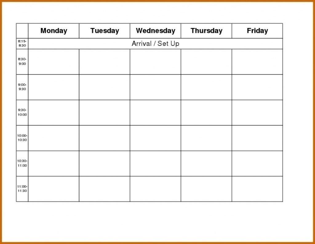 Free Blank Printable Monthly Calendar Monday – Friday Blank Monday Through Friday Month Calendar Template