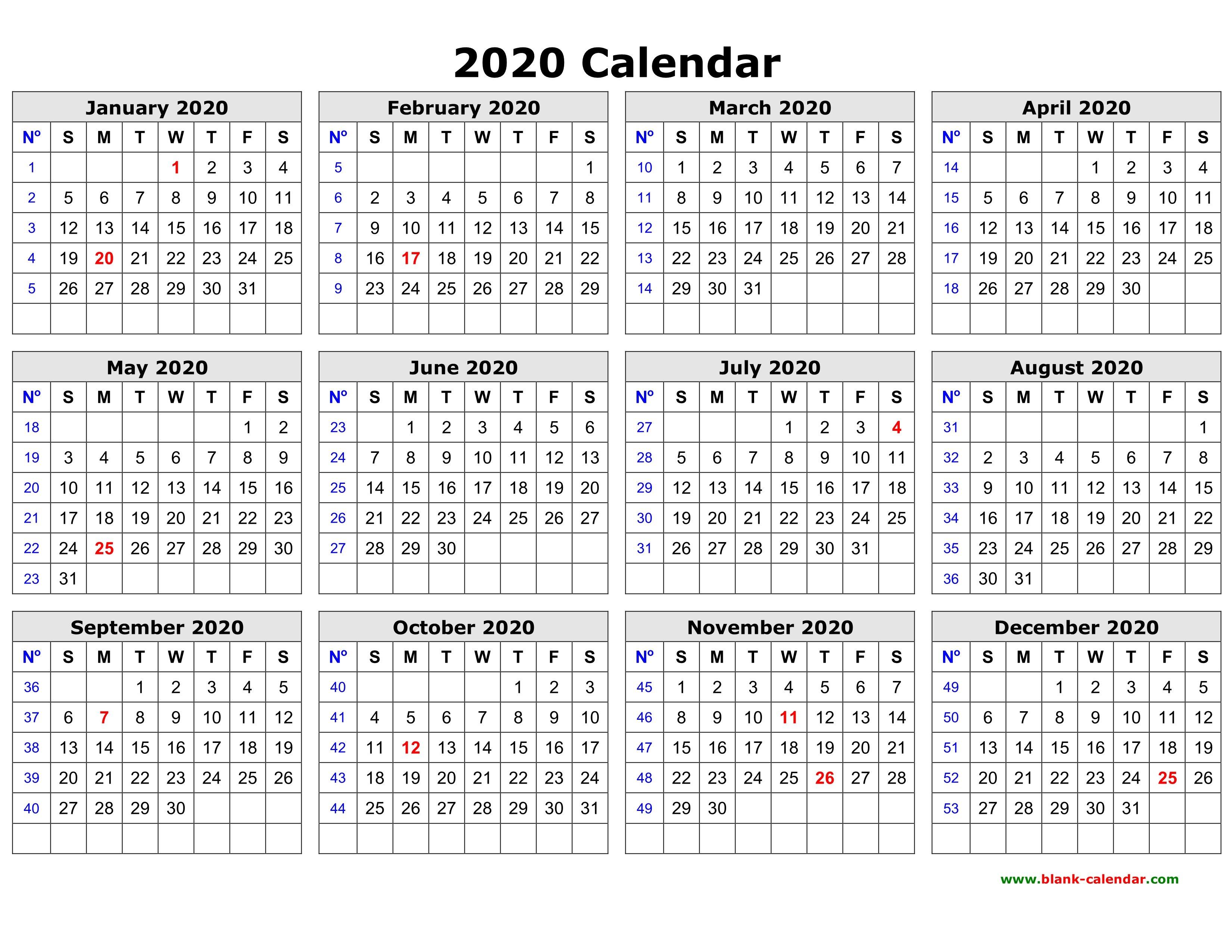 Free Download Printable Calendar 2020 In One Page, Clean Design. 4 Year Printable Calendar