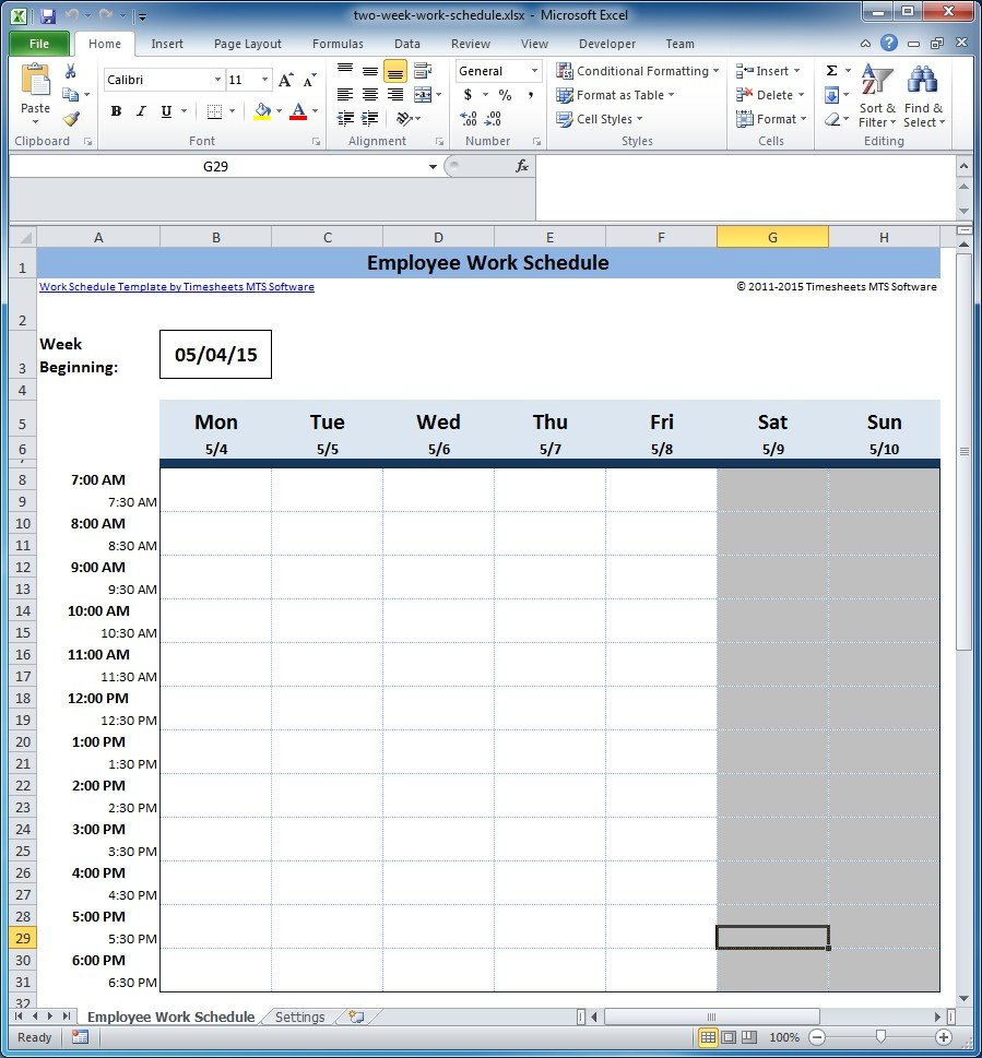 Free Employee And Shift Schedule Templates How To A Make A Two Week Schedule
