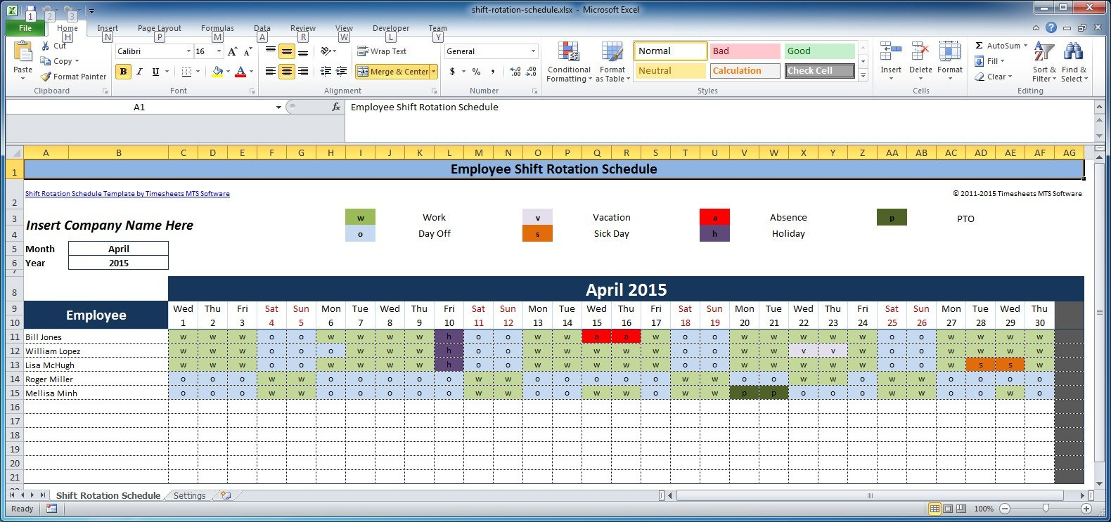 Free Employee And Shift Schedule Templates On Call Rotation Template