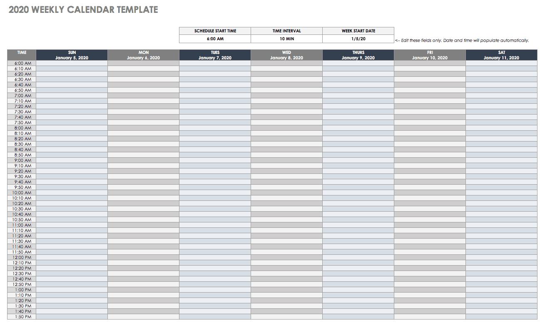 Free Google Calendar Templates | Smartsheet Free Weekly Calander That You Can Edit