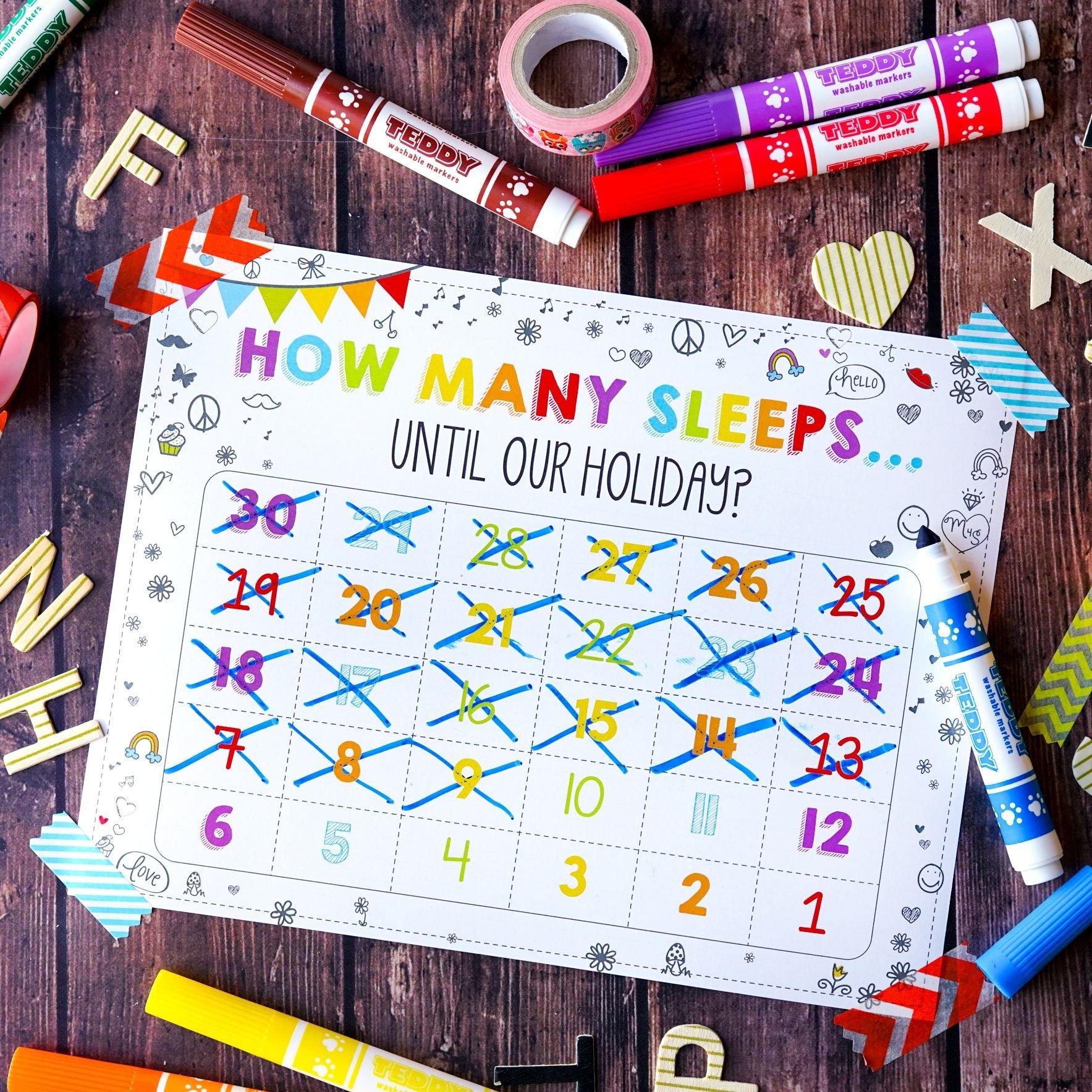 Free 'how Many Sleeps' Countdown Calendar   Countdown Five Year Countdown Calendar