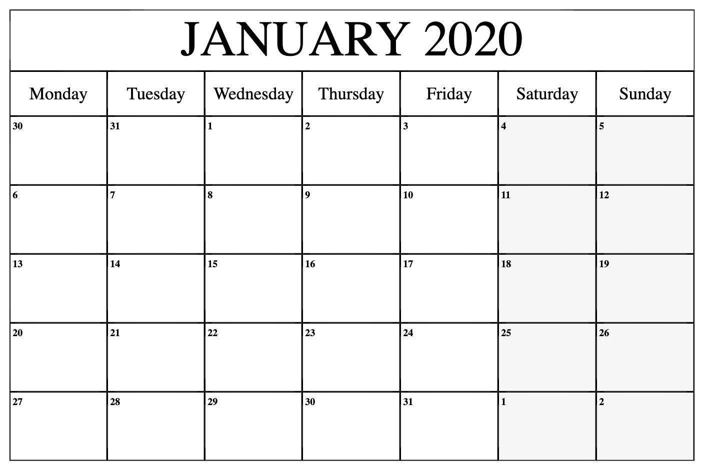 Free January 2020 Calendar Printable Template Pdf, Word Free Printable Undated Calendar Monday Thru Friday