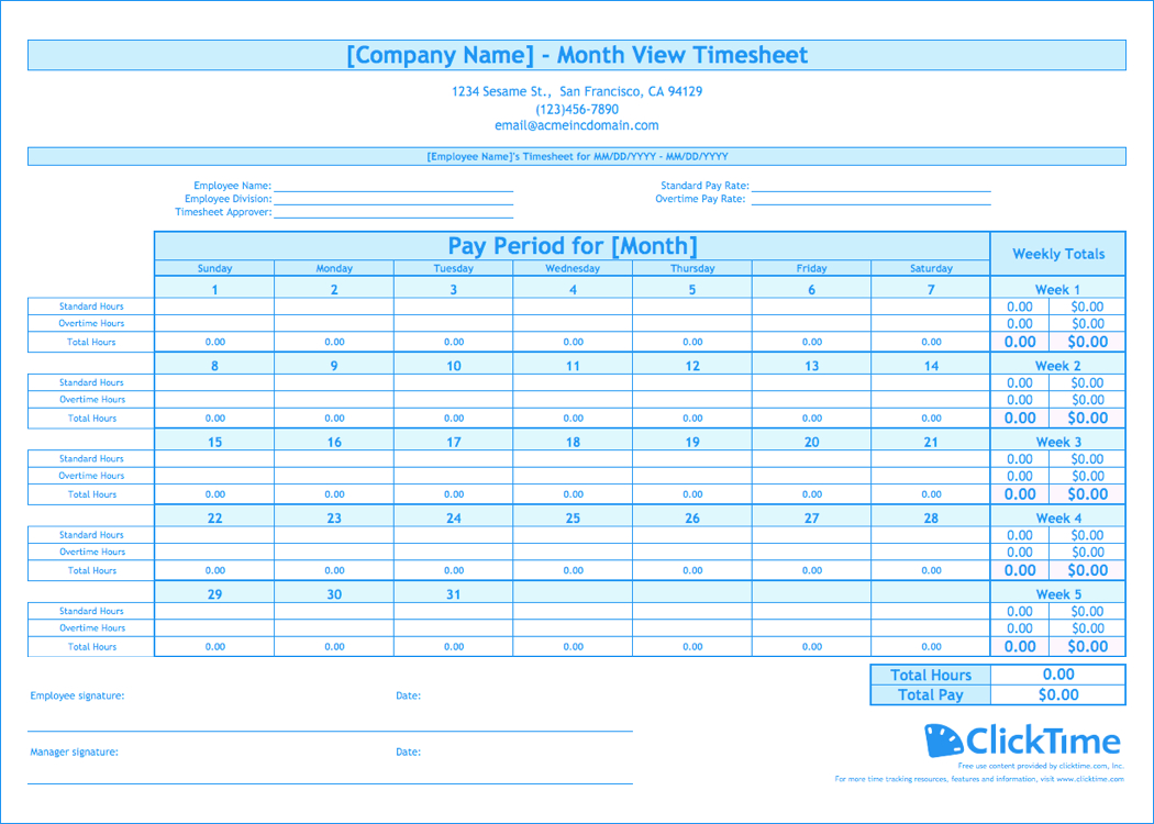 Free Monthly Timesheet Template | Clicktime Printable Time Sheet Calendar