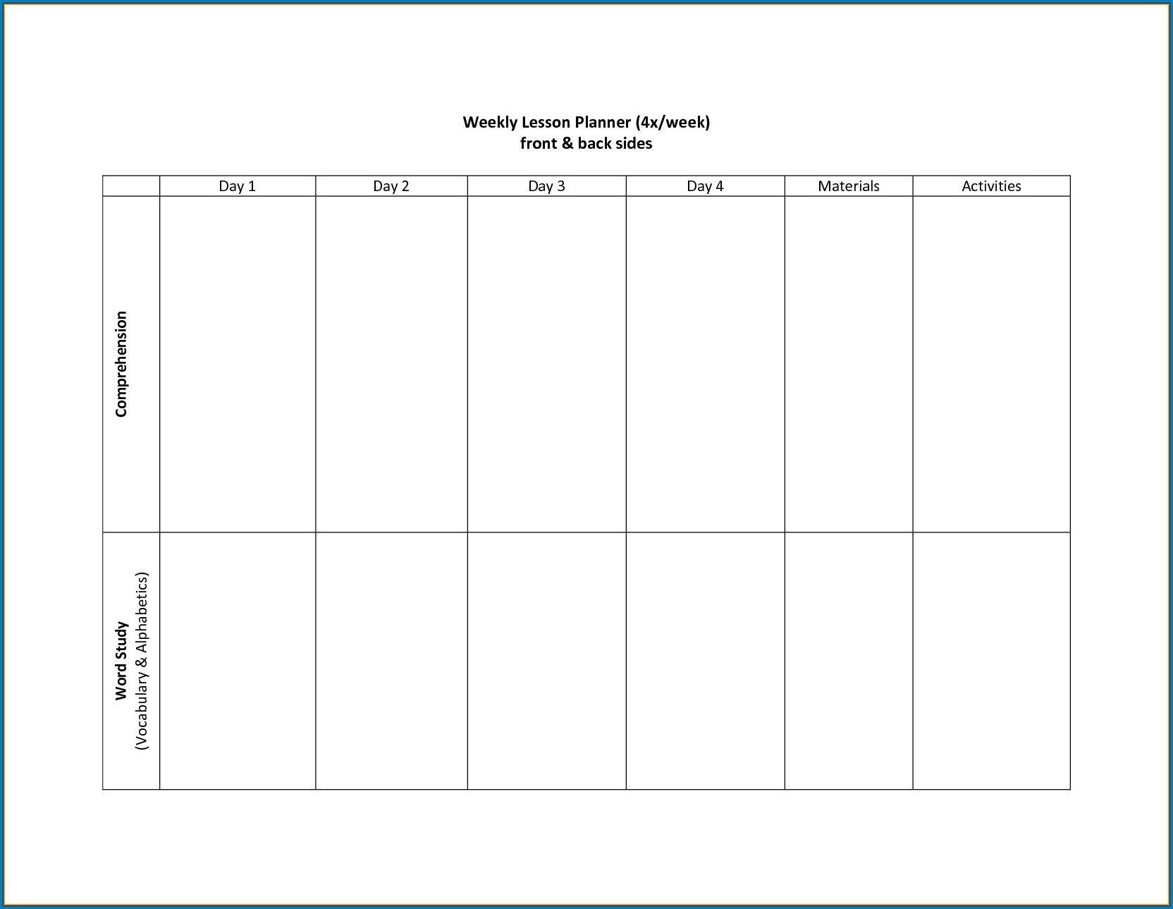 Free Printable 2 Week Calendar Template   Free Calendar 4 Week Planner Template Word