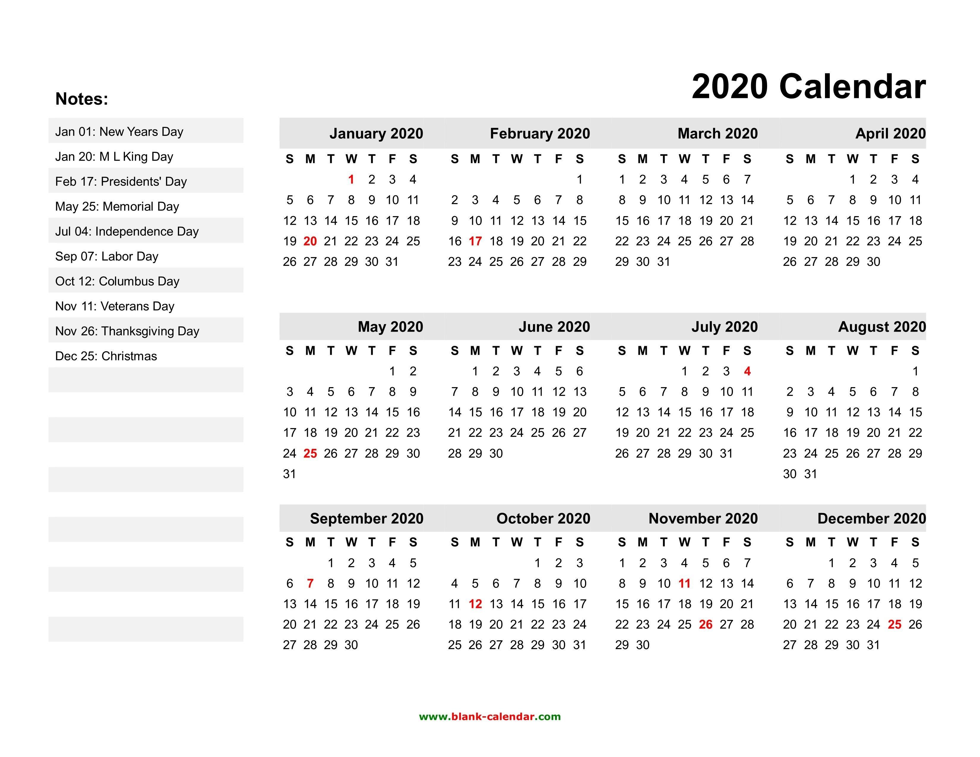 Free Printable 2020 Calendars With Holidays   Printable Printable Calenders With Date And Time On 8 1/2 X 11 Paper