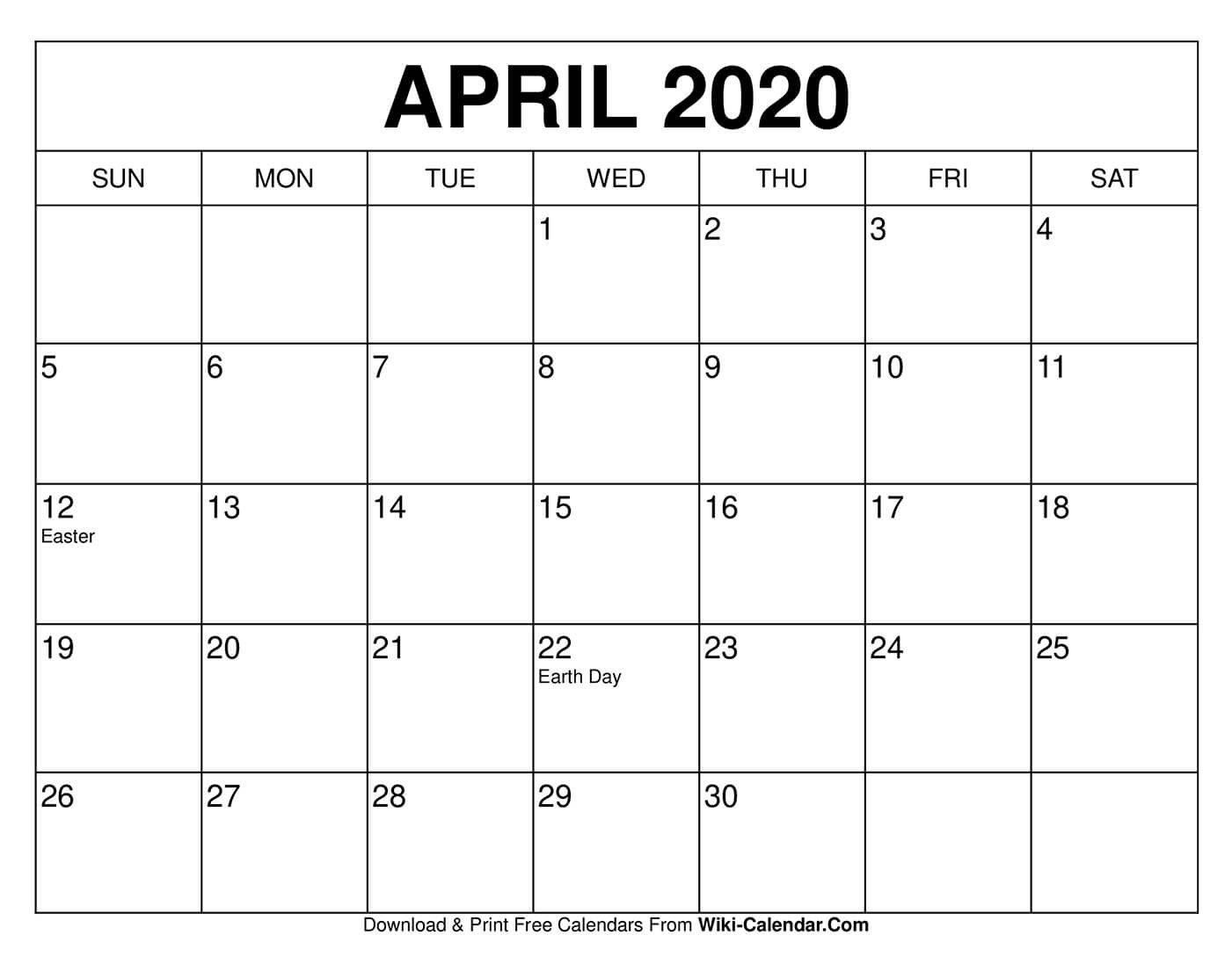Free Printable April 2020 Calendars Calendar I Can Download And Edit
