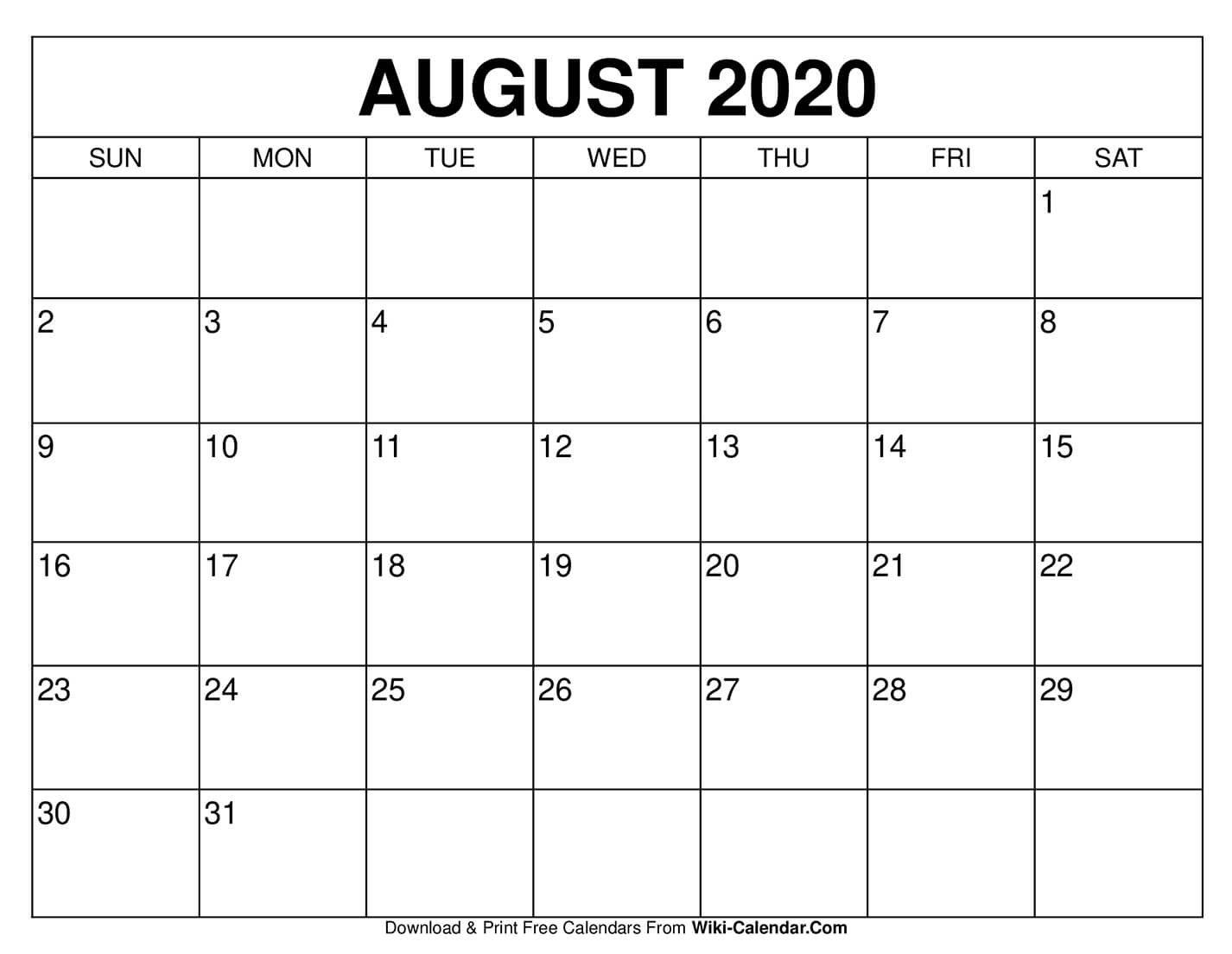 Free Printable August 2020 Calendars Free Calendar To Edit
