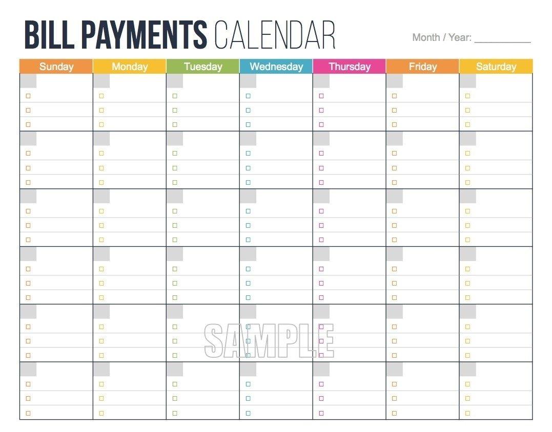 Free Printable Bill Budget Calendar – Calendar Inspiration Free Printable Monthly Budget Calendar