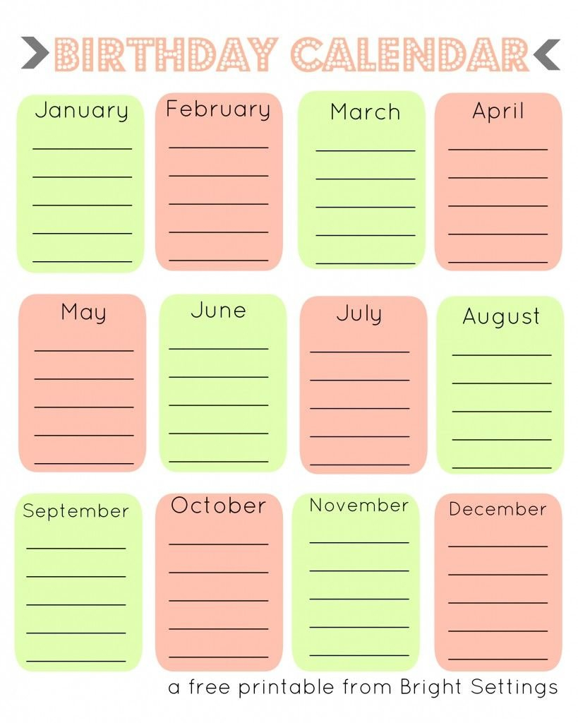 Free Printable Birthday Calendar (With Images) | Birthday Free Birthday Calendar For The Workplace