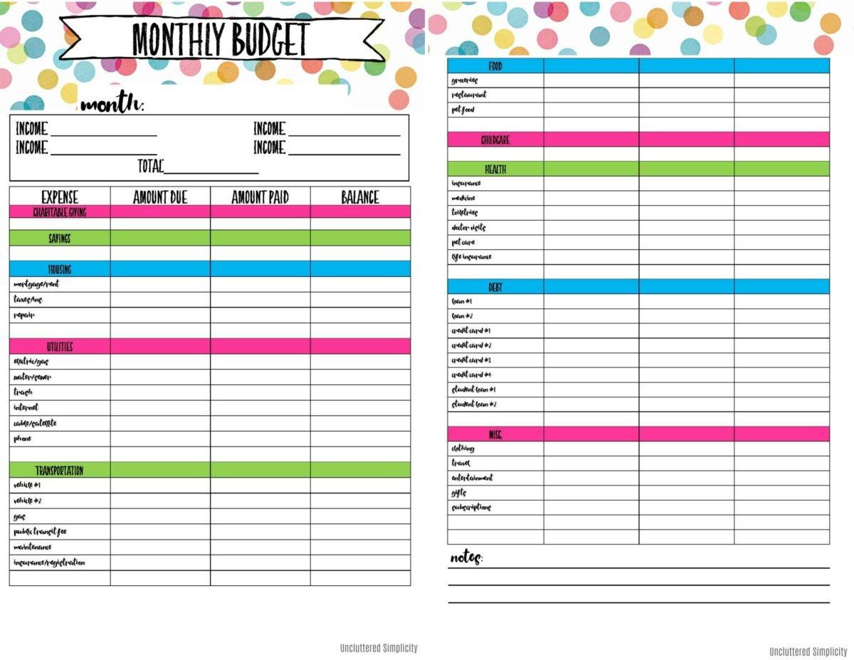 Free Printable Budget Planning Worksheets Free Printable Monthly Budget Calendar