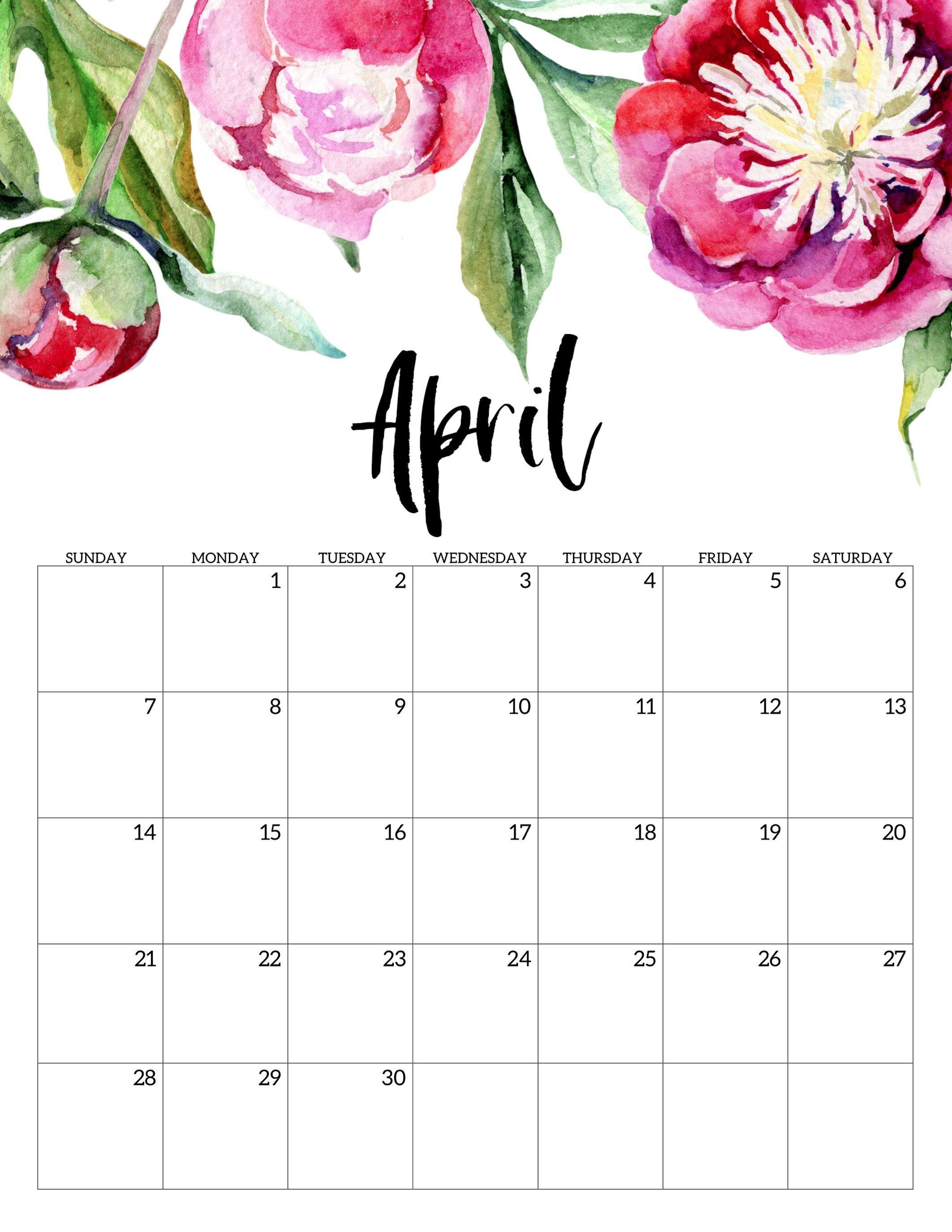 Free Printable Calendar 2019 – Floral | Печатные Календари Free No Download Printable Calendars