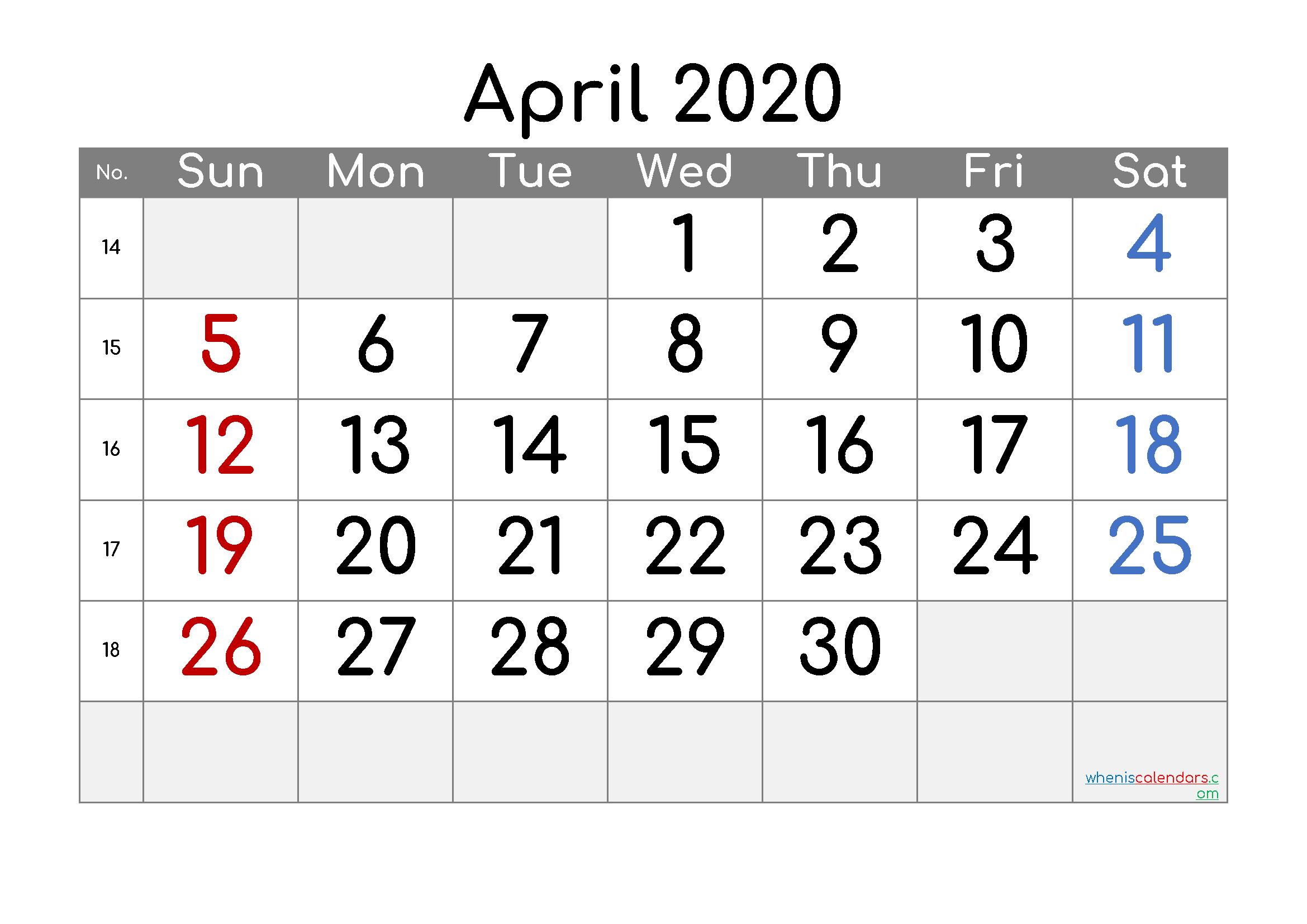 Free Printable Calendar 2020 April – Free Printable Monthly Free Printable Calendars 8 Week