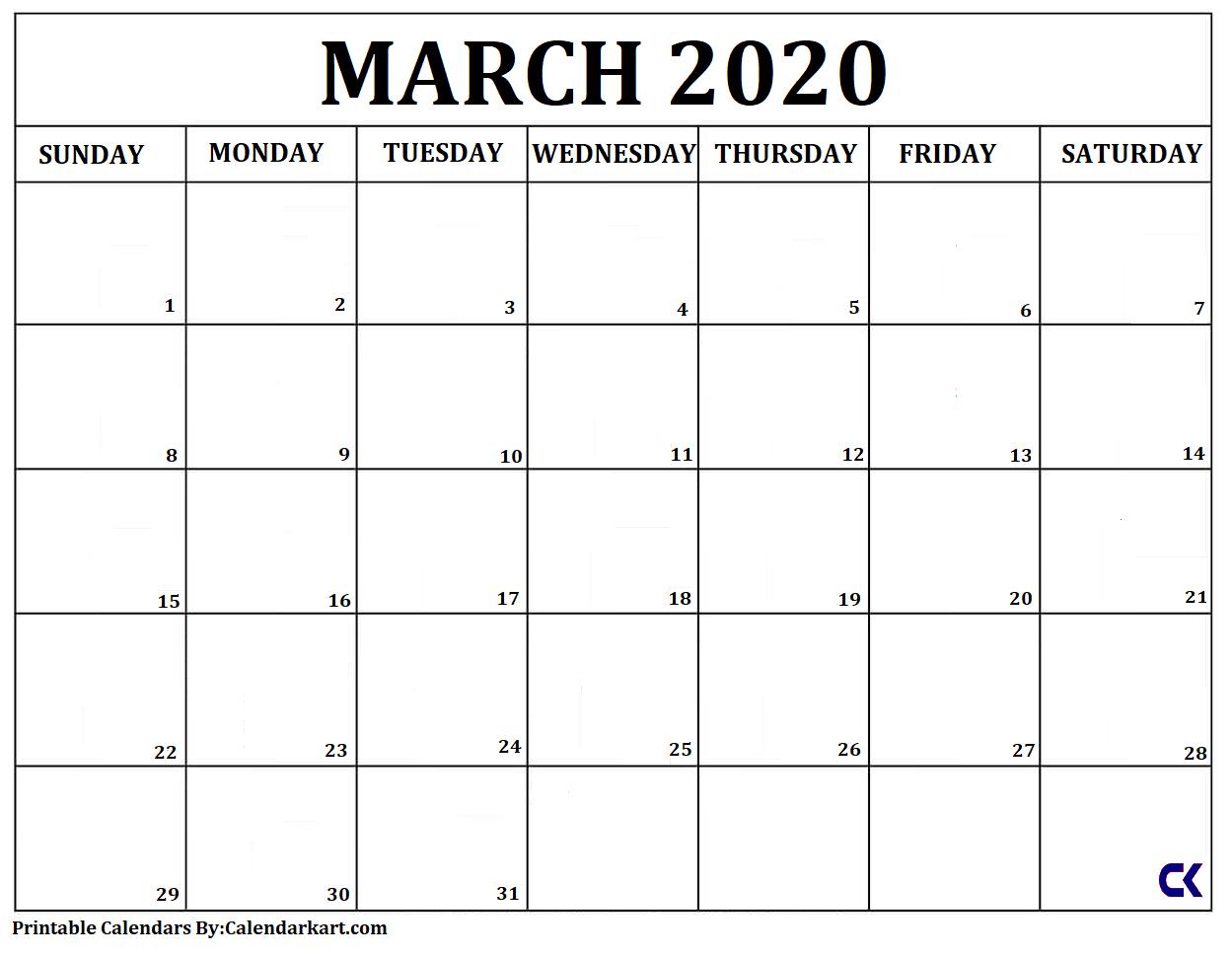 Free Printable Calendar Templates 2020 » Calendarkart Free No Download Printable Calendars