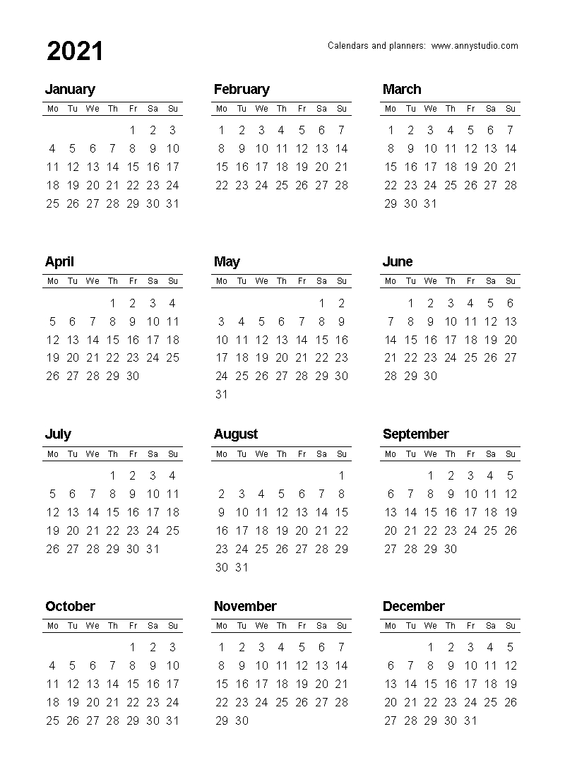 Free Printable Calendars And Planners 2020, 2021, 2022 4 Year Calendar Template