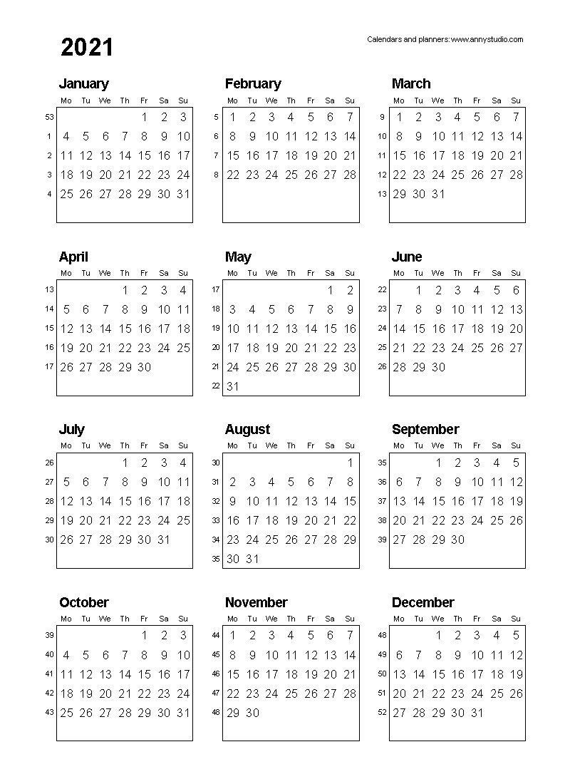 Free Printable Calendars And Planners 2020, 2021, 2022 Multi Year Printable Calendars Free