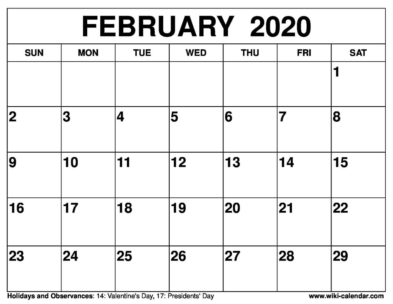 Free Printable February 2020 Calendar 8 1/2 X 11 Printable Free 8 1/2 By 11 Blank Calendar