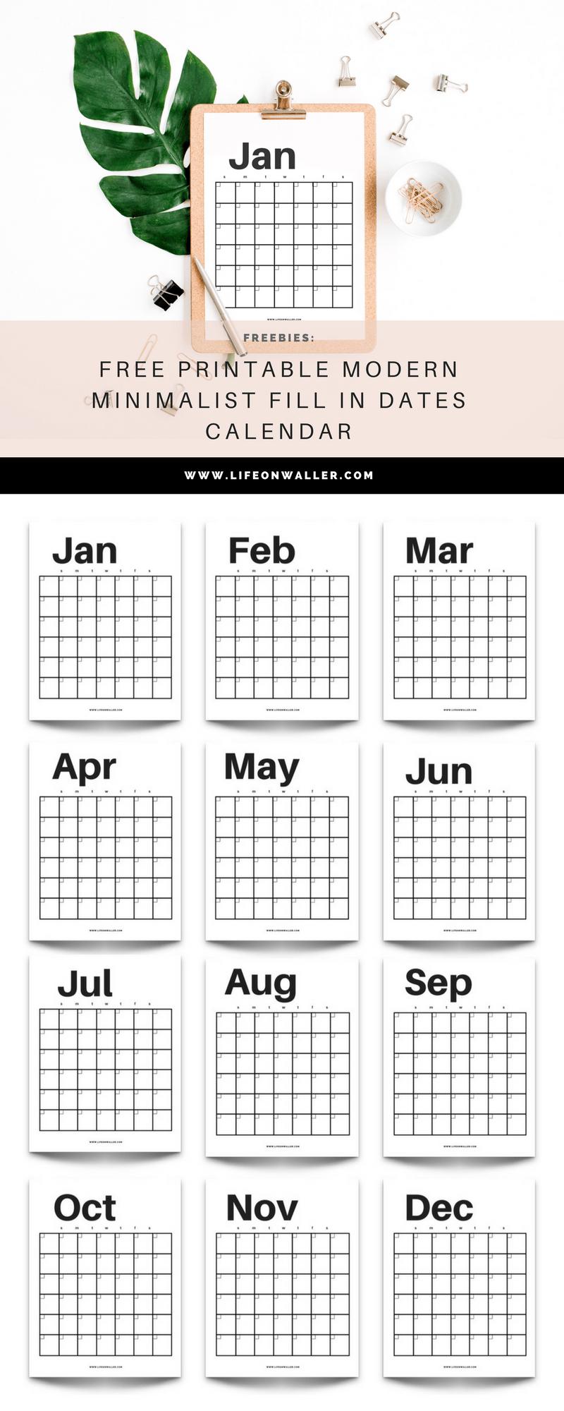 Free Printable Modern Minimalist Fill In Calendar – Use For Free Fill In Calendar