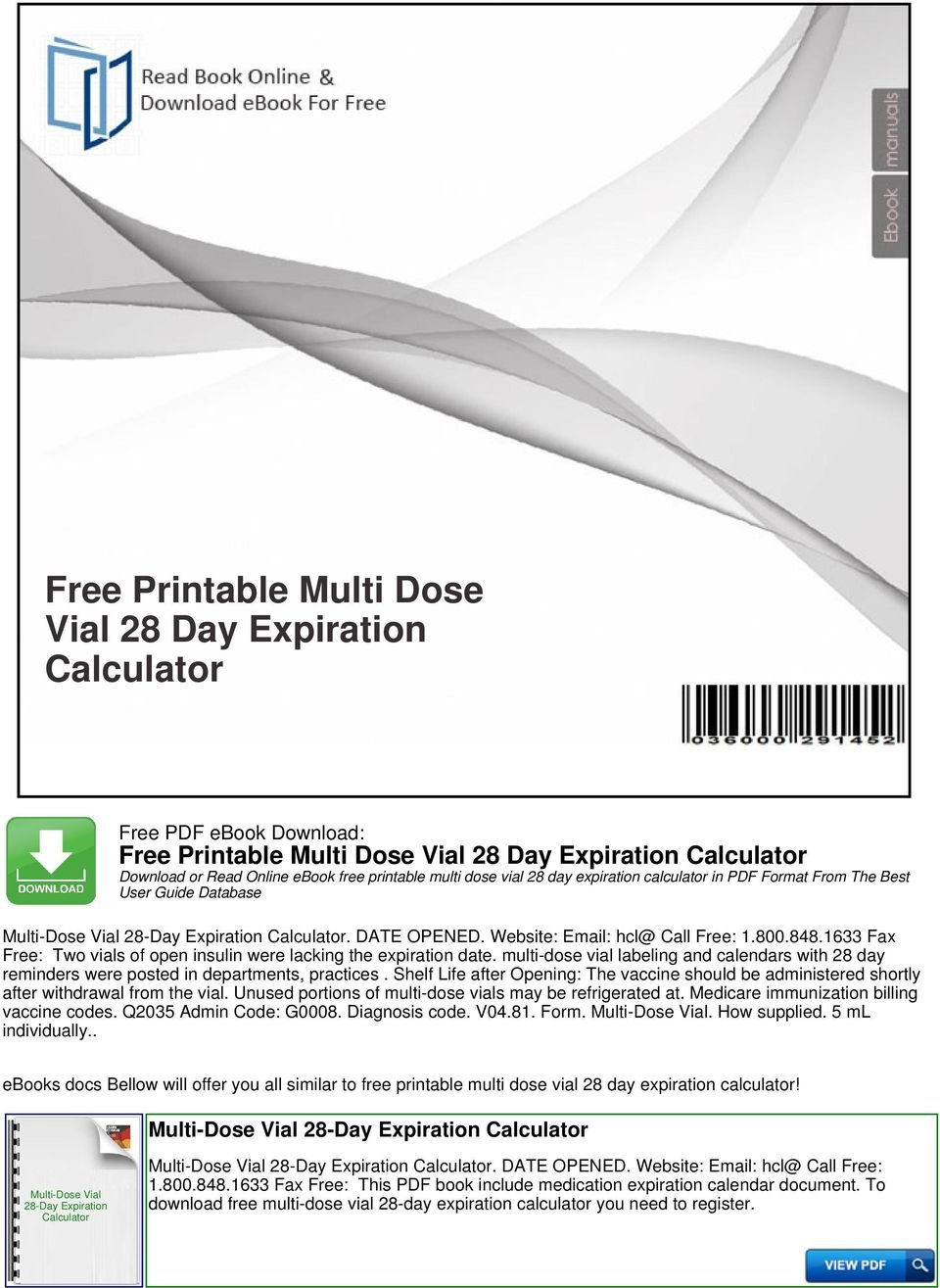 Free Printable Multi Dose Vial 28 Day Expiration Calculator 28 Days Medication Expiration Calender For March