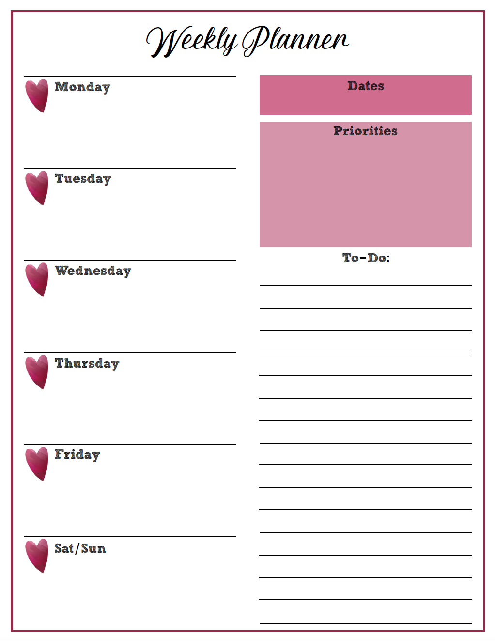 Free Printable Weekly Planners: Monday Start (With Images Free Printable Weekly Planner Monday Friday