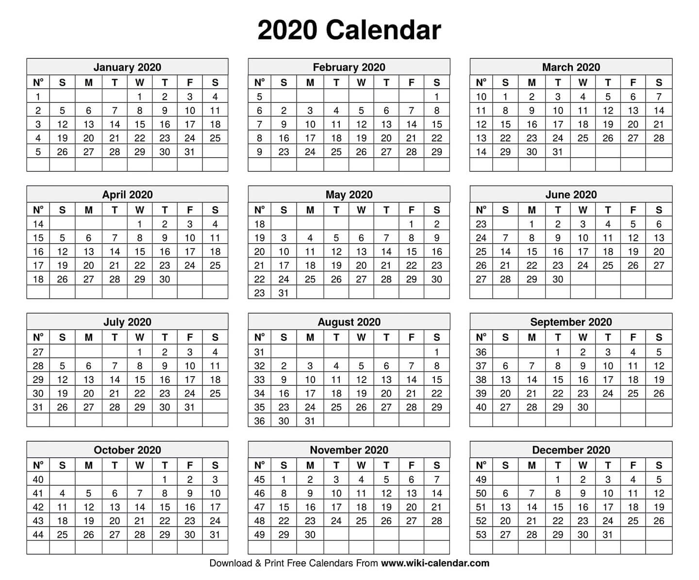 Free Printable Year 2020 Calendar 4 Year Printable Calendar