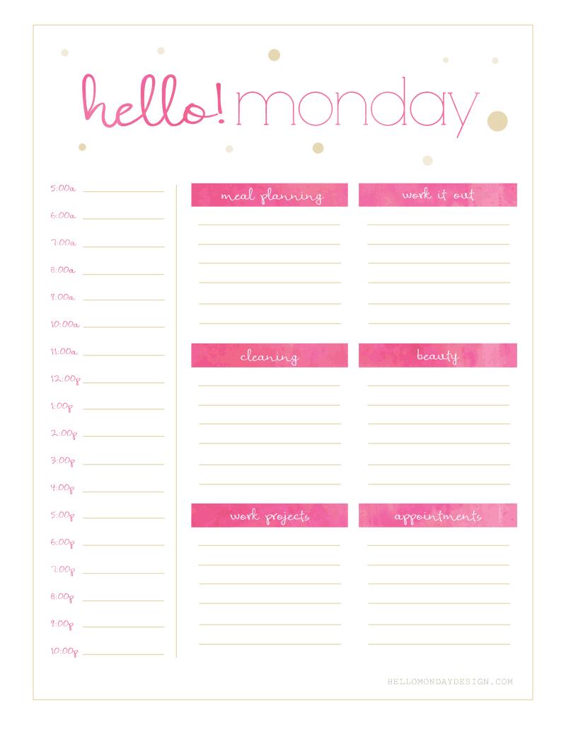 Freebie Friday // Calendar & Planner   Planner Printables Free Free Printable Undated Calendar Monday Thru Friday