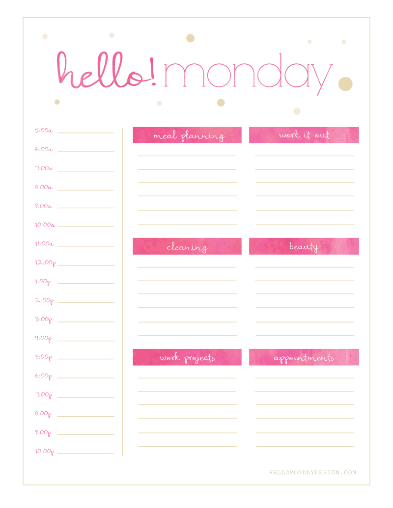 Freebie Friday // Calendar & Planner   Planner Printables Free Free Printable Weekly Planner Monday Friday