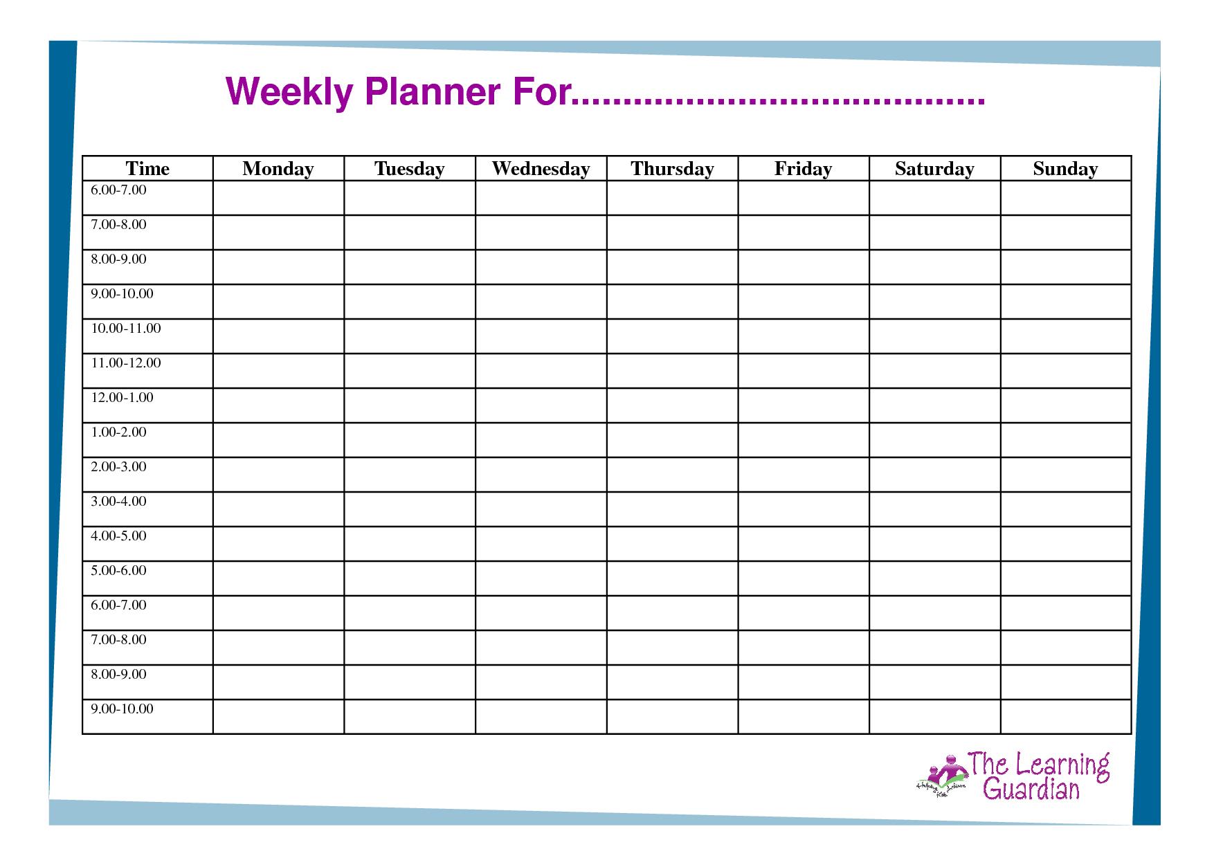 Free+Printable+Weekly+Planner+Templates In 2020 (With Images One Week Printable Calnedar