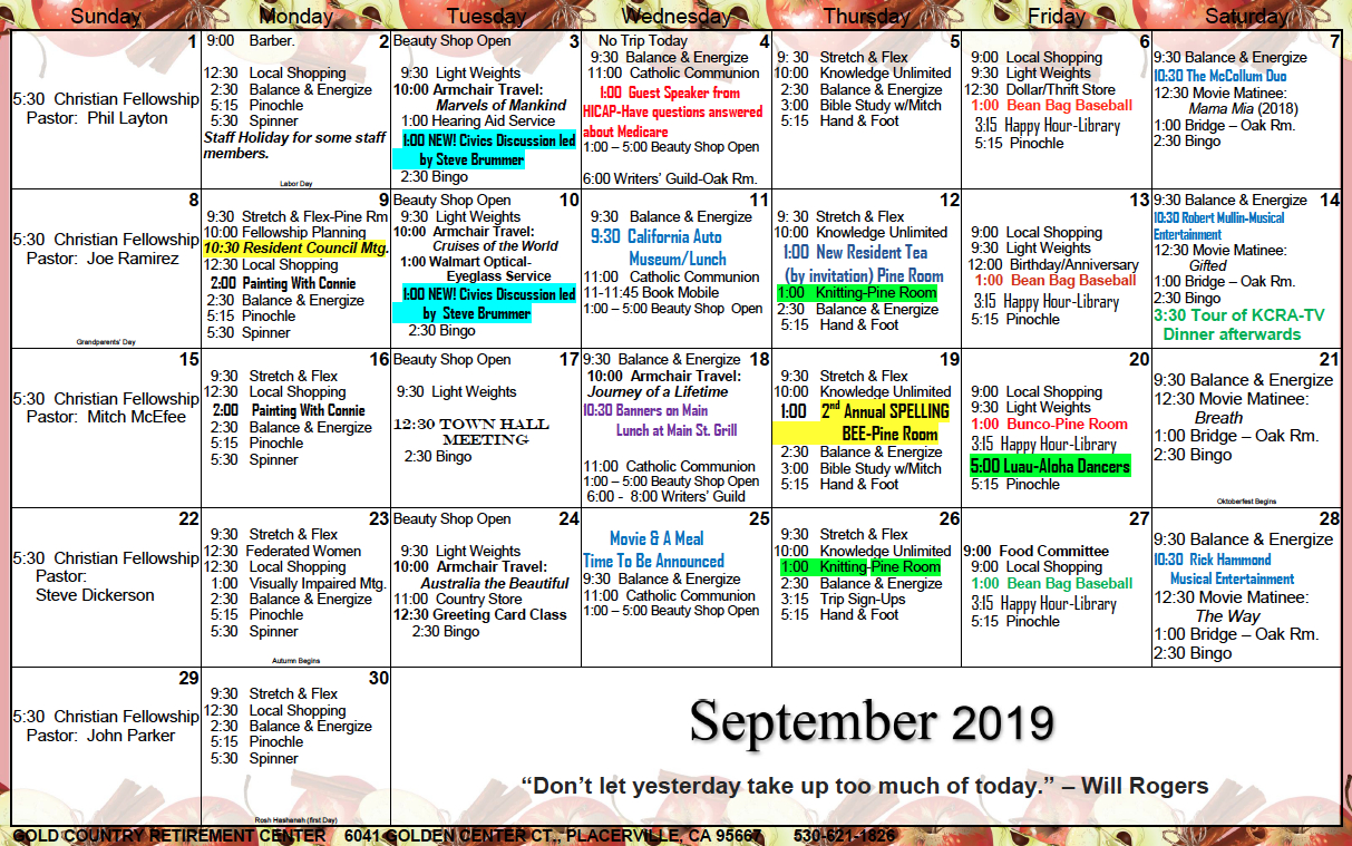 Gold Country Il September Calendar – Gold Country Retirement 5 Year Retirement Calendar