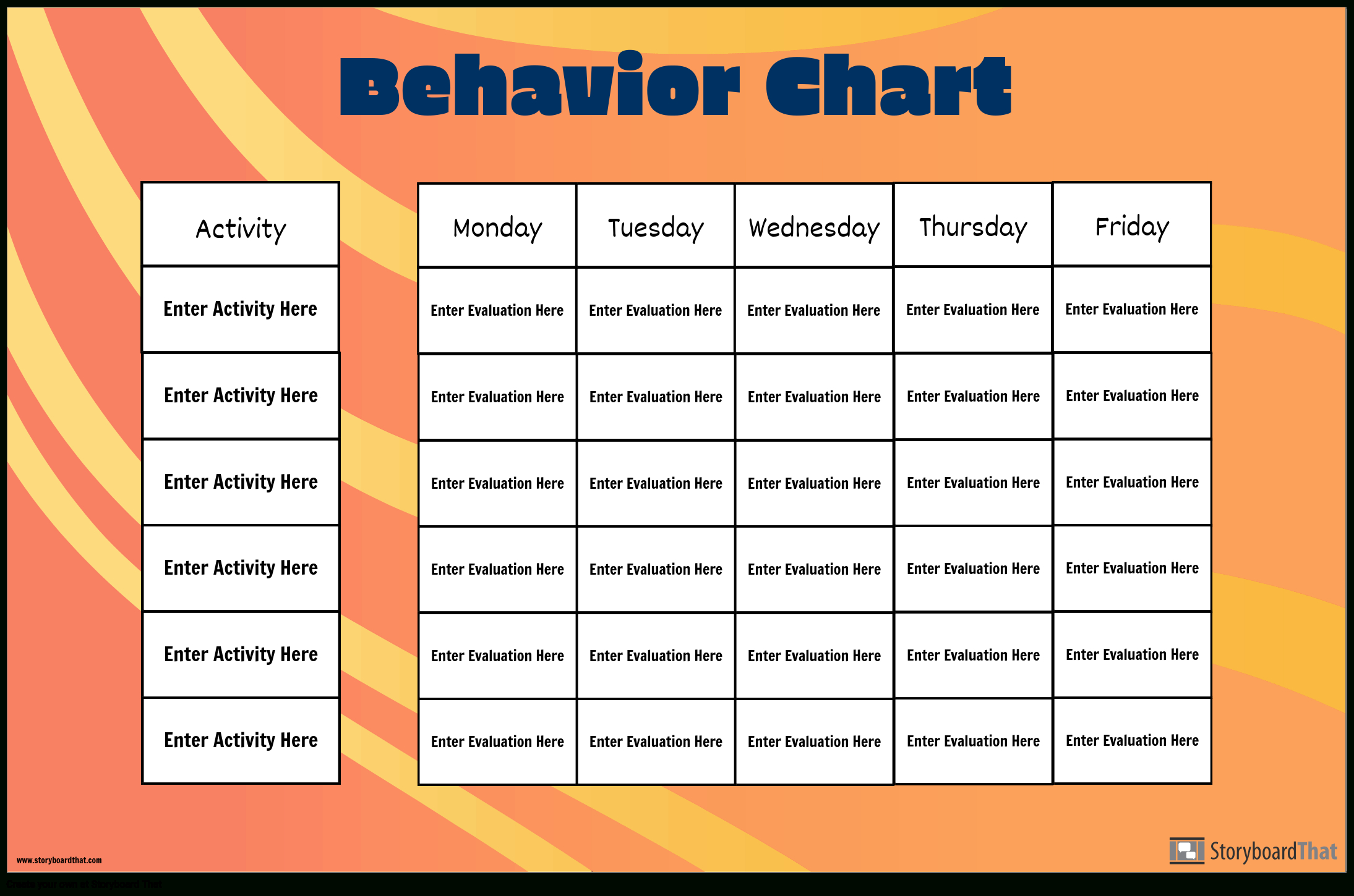 Grid Behavior Chart Storyboardposter Templates Create A Chart From Monday To Friday