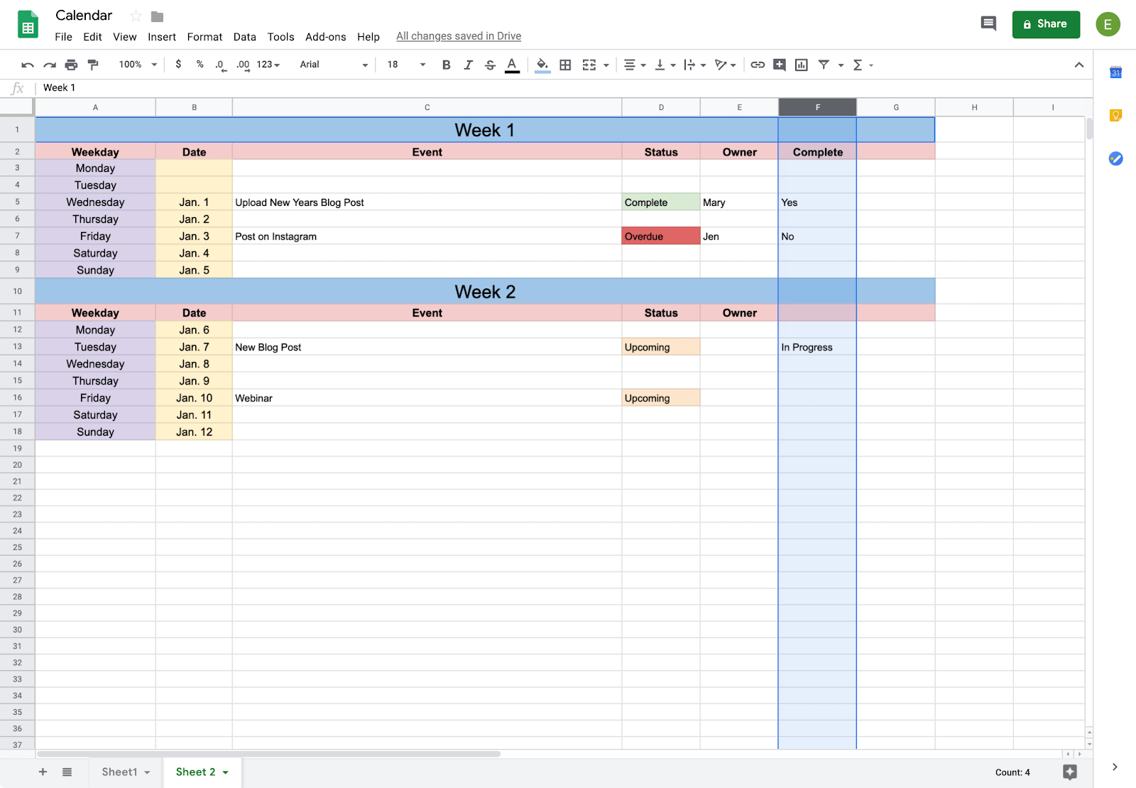 How To Create A Calendar In Google Docs | Copper Templet One Week Calender