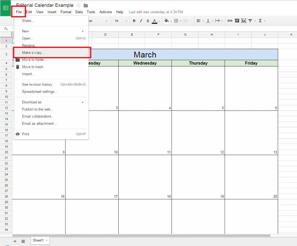 How To Make Endar In Google Spreadsheet Sheets Cell Monthly Google Spread Sheet Template Clender